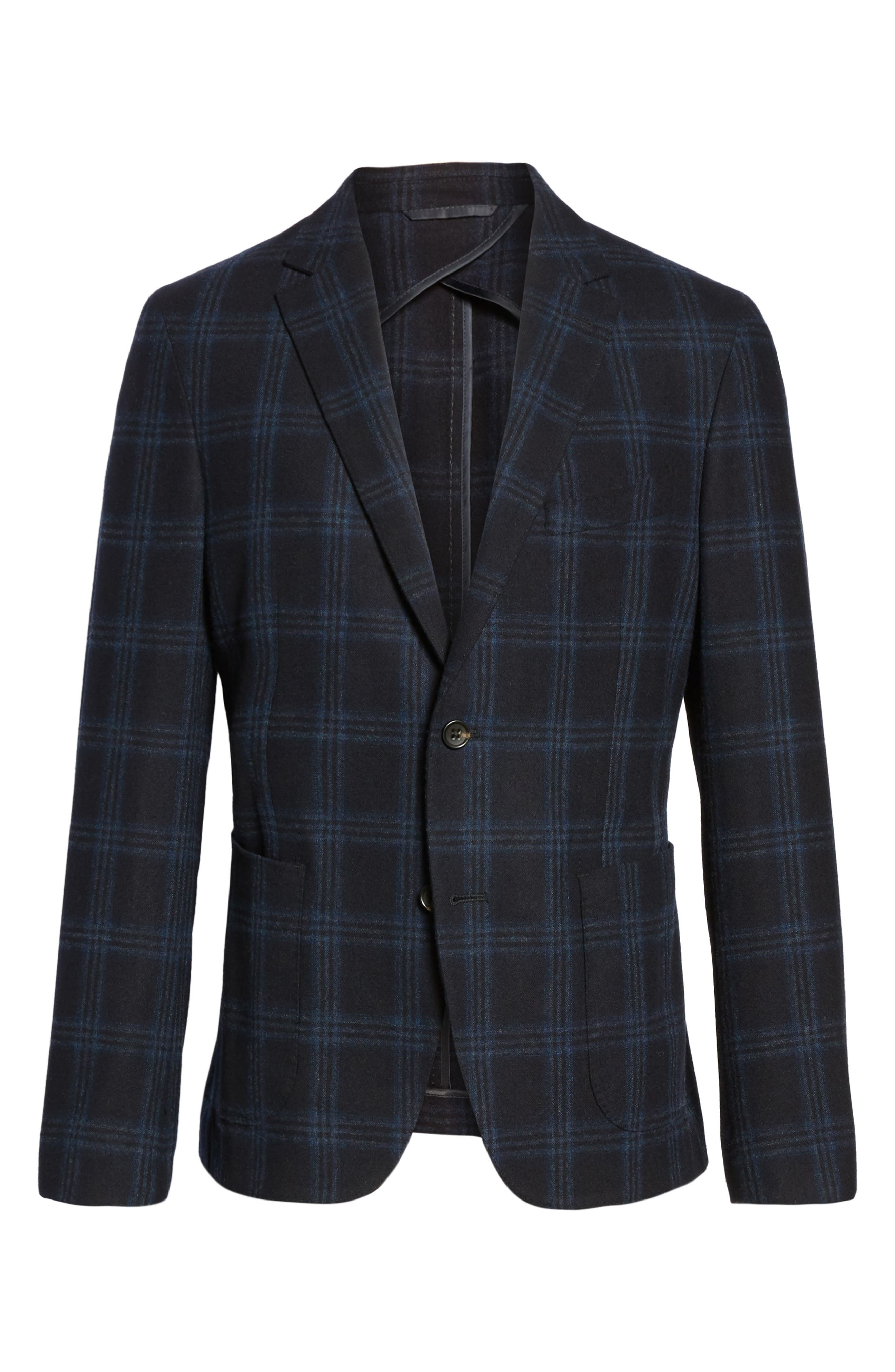 Classic Fit Windowpane Wool & Cashmere Jersey Sport Coat,                             Alternate thumbnail 5, color,                             001