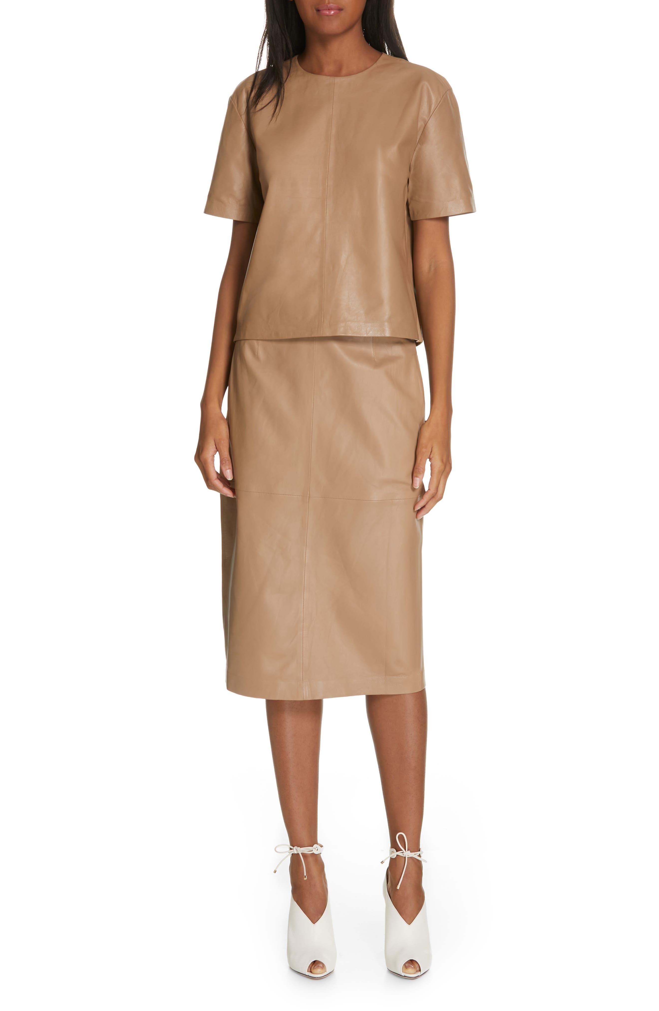 Alouetta Leather Skirt,                             Alternate thumbnail 7, color,                             BOIS