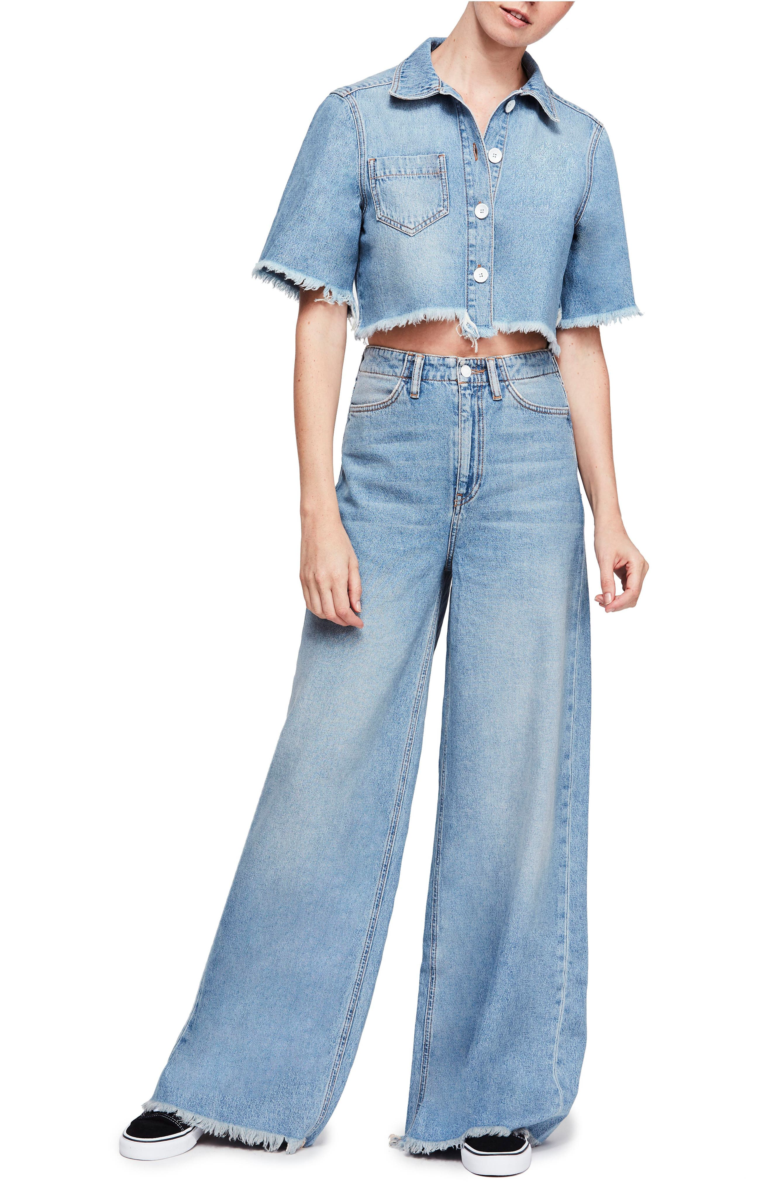 Vintage High Waisted Trousers, Sailor Pants, Jeans Womens Free People Dust In The Wind Crop Top  Flare Jeans Size 12 - Blue $100.80 AT vintagedancer.com