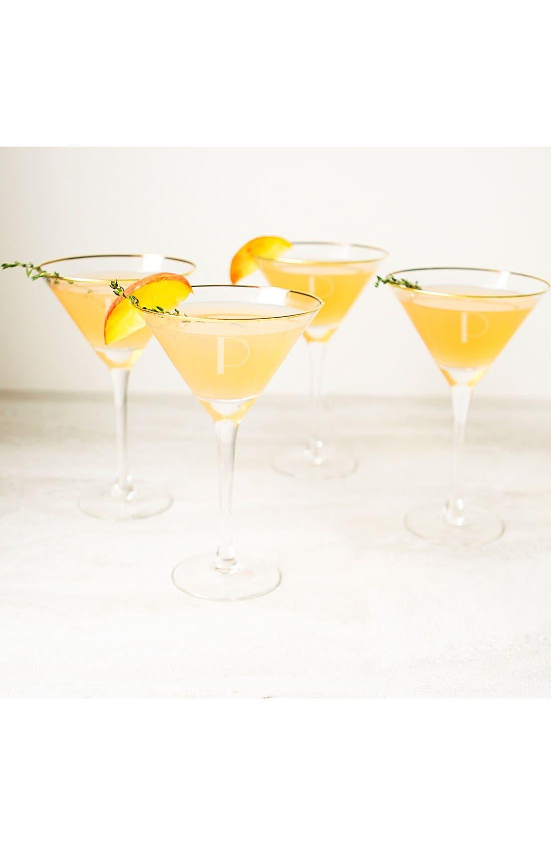 Set of 4 Gold Rimmed Monogram Martini Glasses,                             Alternate thumbnail 3, color,                             710