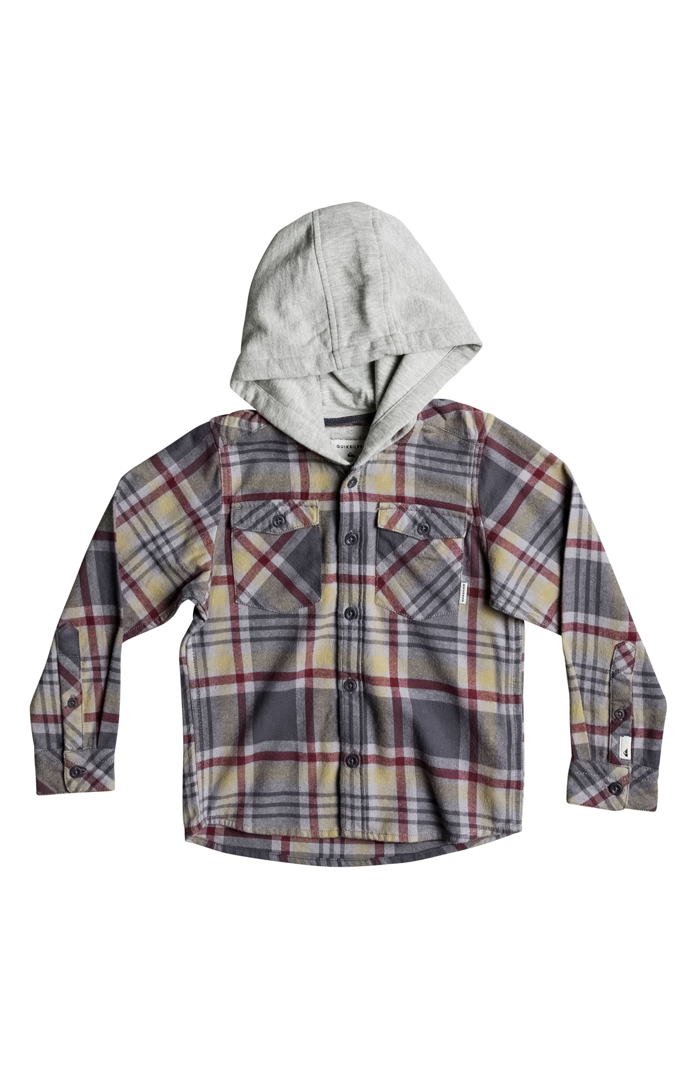 Hooded Plaid Flannel Shirt,                             Main thumbnail 1, color,                             267