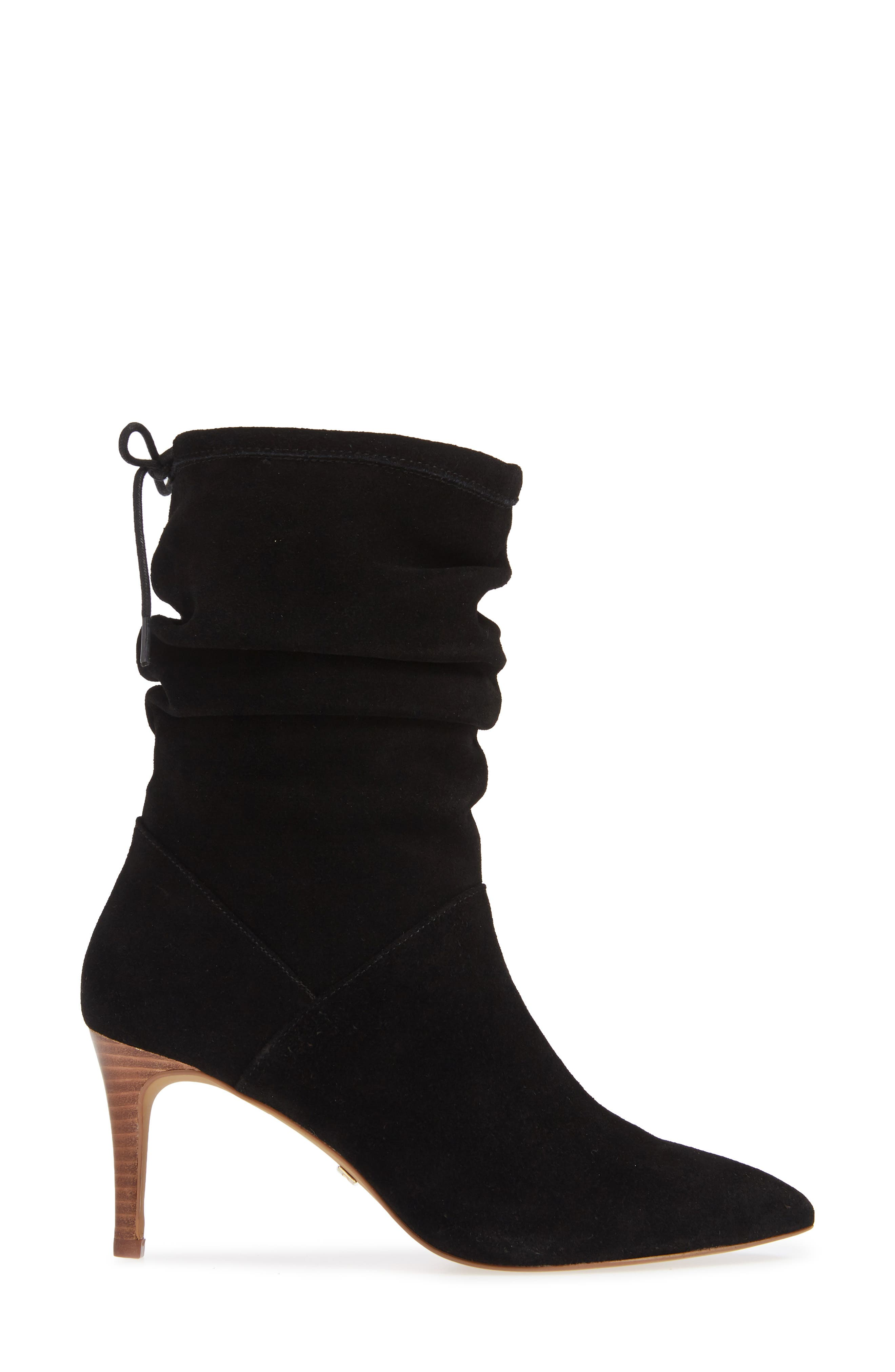 Natthan Slouchy Bootie,                             Alternate thumbnail 3, color,                             BLACK SUEDE