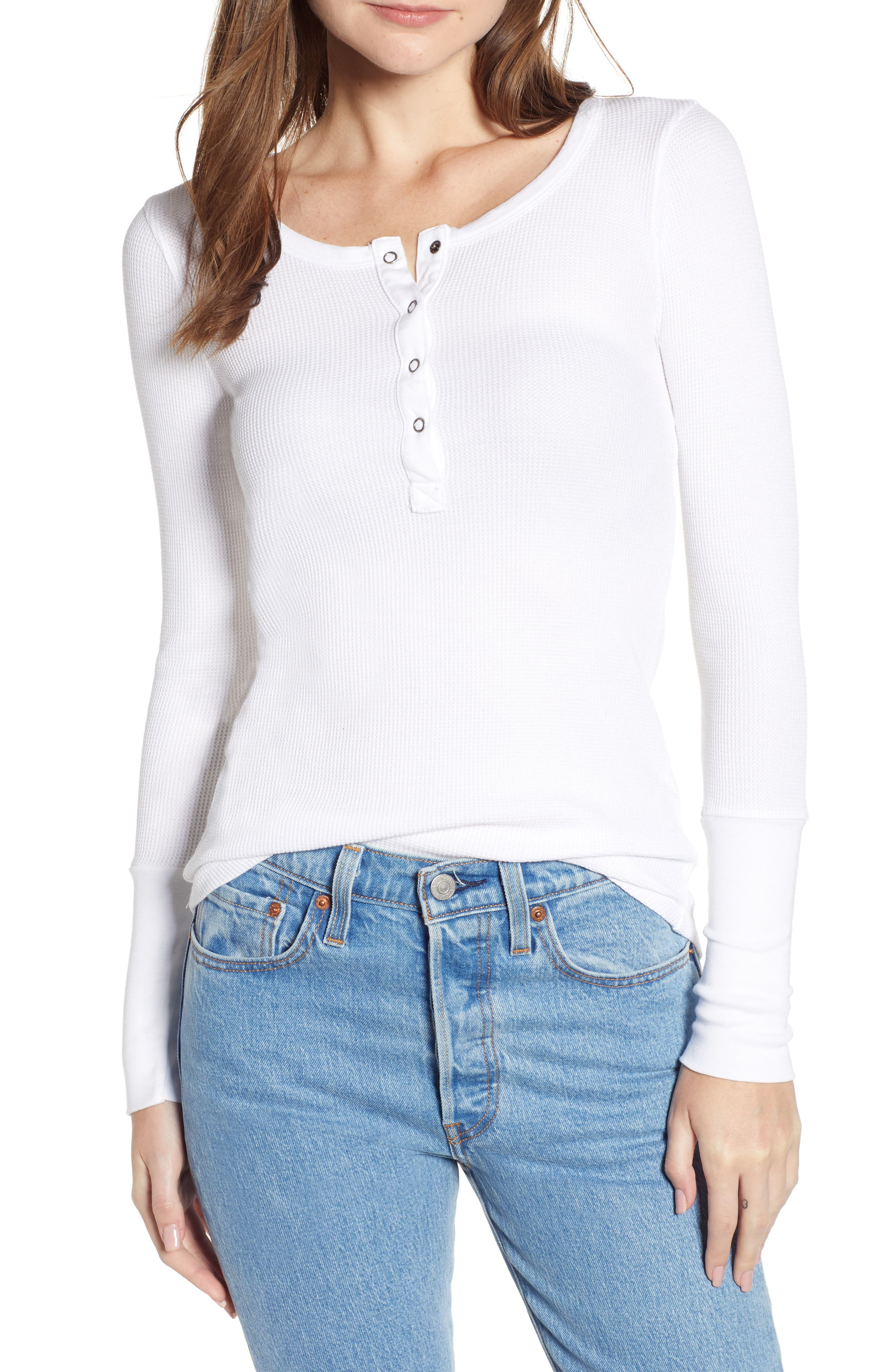 Classic Henley Thermal,                             Main thumbnail 1, color,                             WHITE
