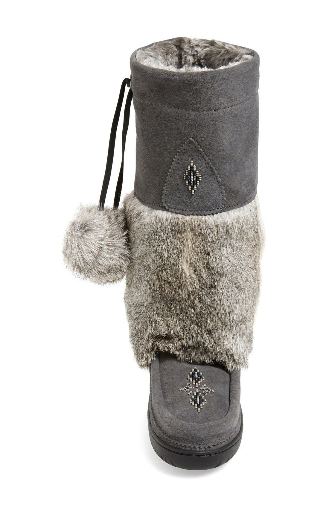 'Snowy Owl' Genuine Fur & Suede Mukluk,                             Alternate thumbnail 3, color,                             CHARCOAL