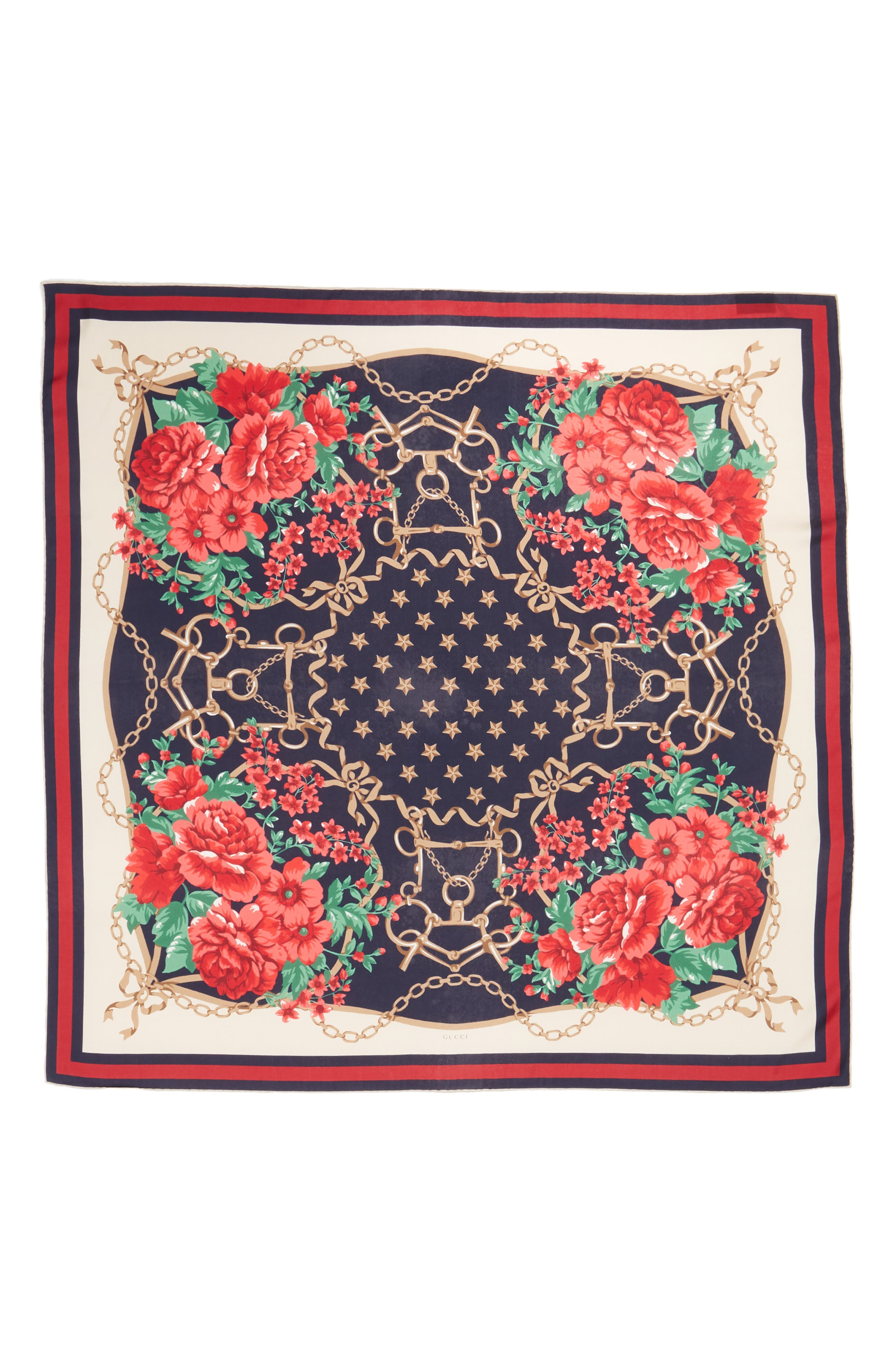 Rose Chain Foulard Silk Twill Scarf,                             Alternate thumbnail 3, color,                             MIGHTNIGHT BLUE/ RED