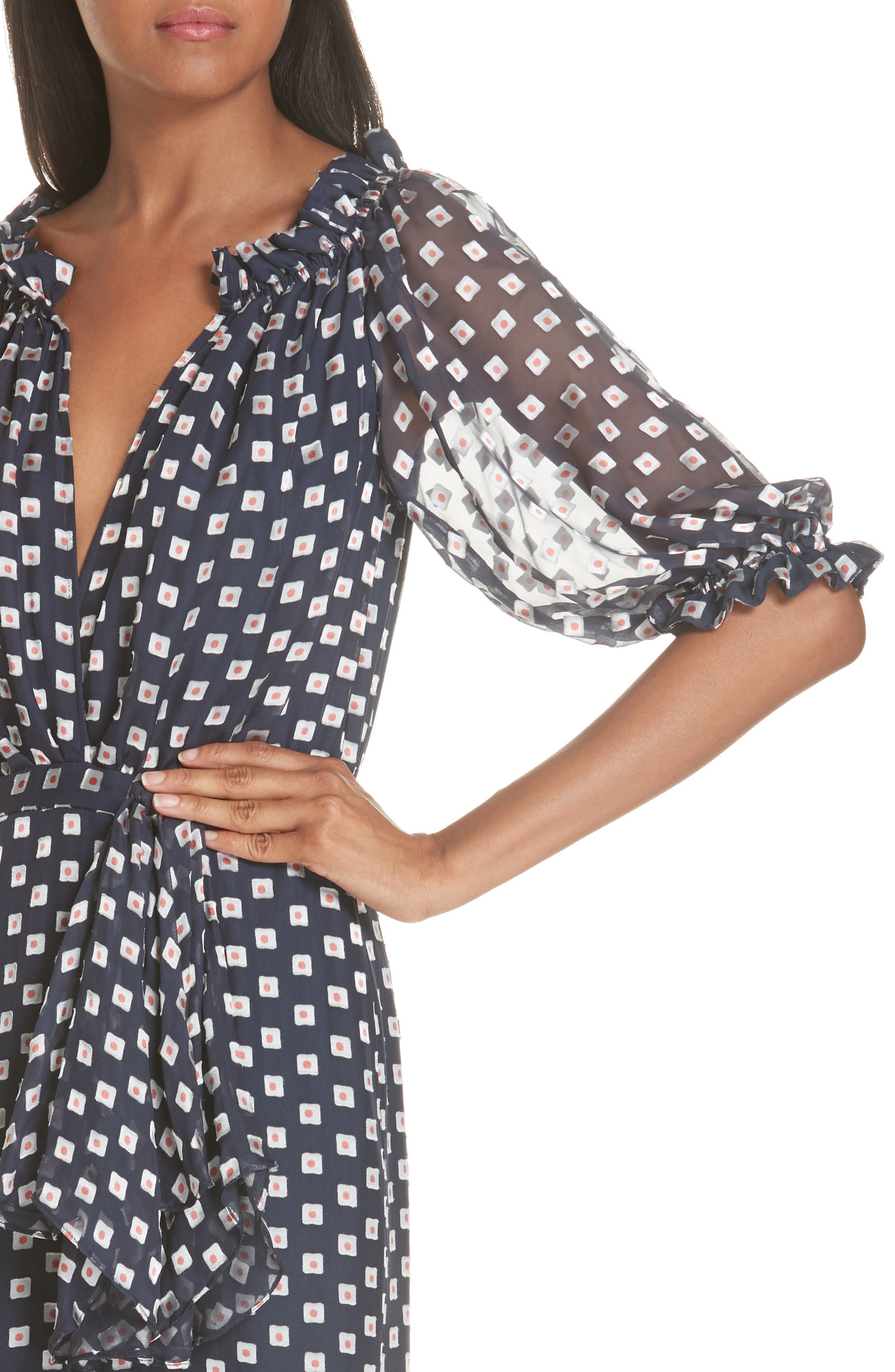 Olivia Silk Blend Midi Dress,                             Alternate thumbnail 4, color,                             410