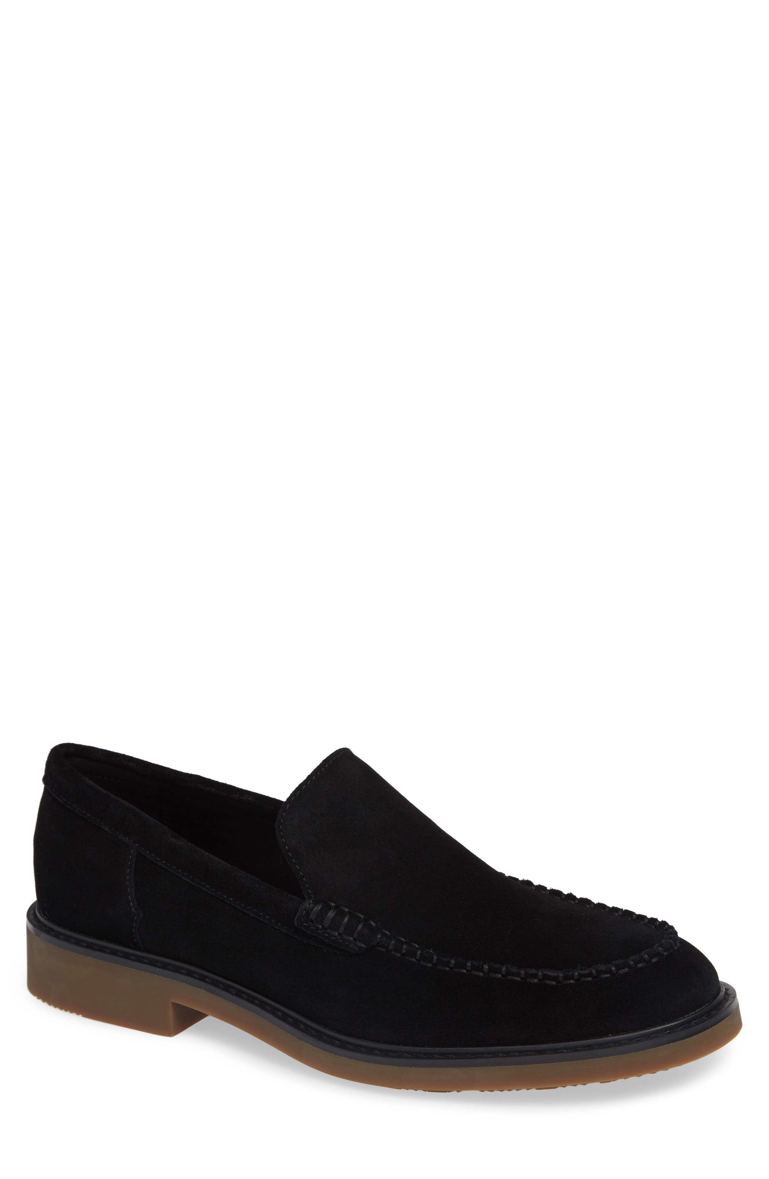 Vance Apron Toe Loafer,                             Main thumbnail 1, color,                             BLACK CALF SUEDE