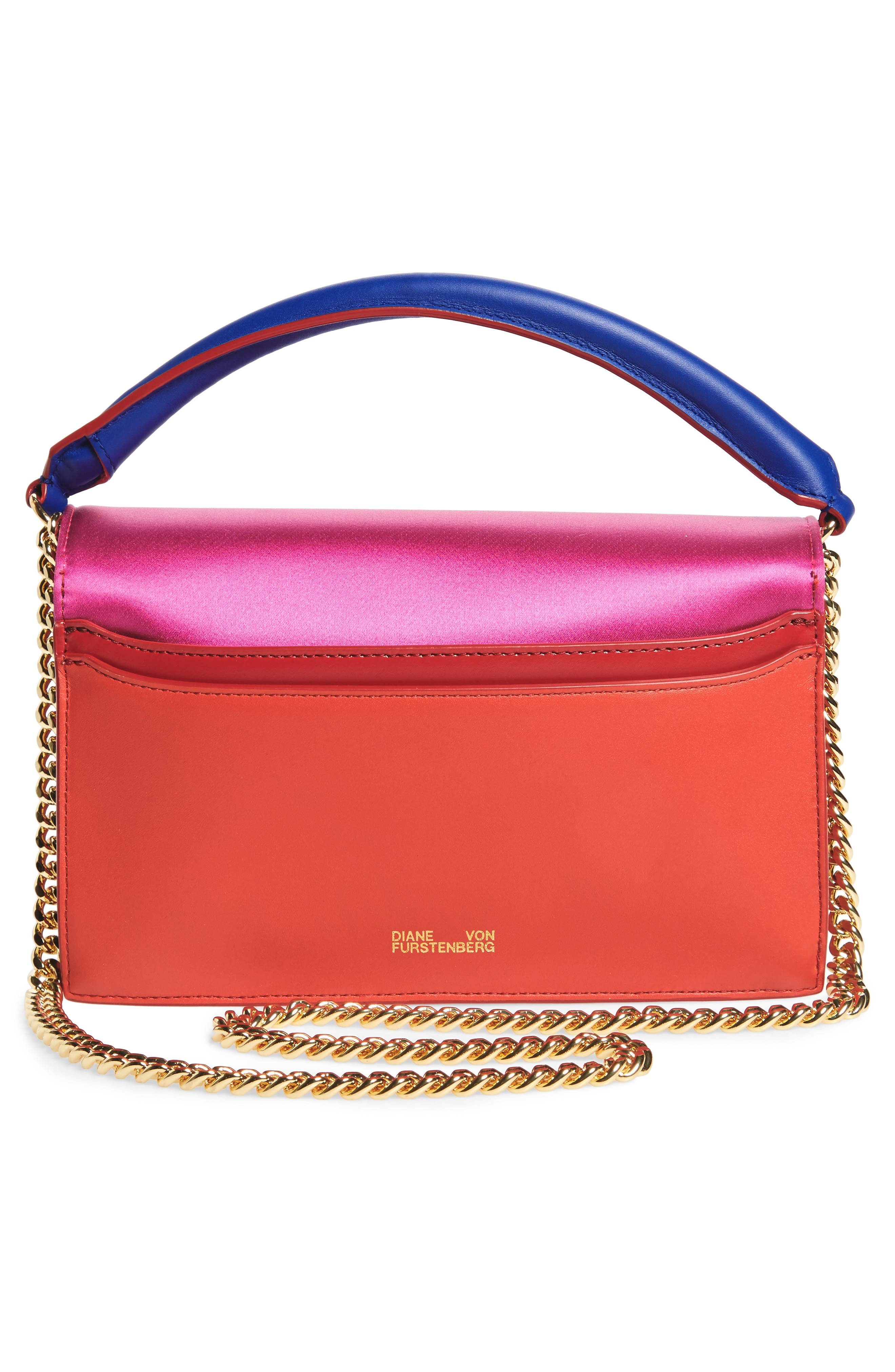Soirée Satin & Leather Top Handle Bag,                             Alternate thumbnail 3, color,