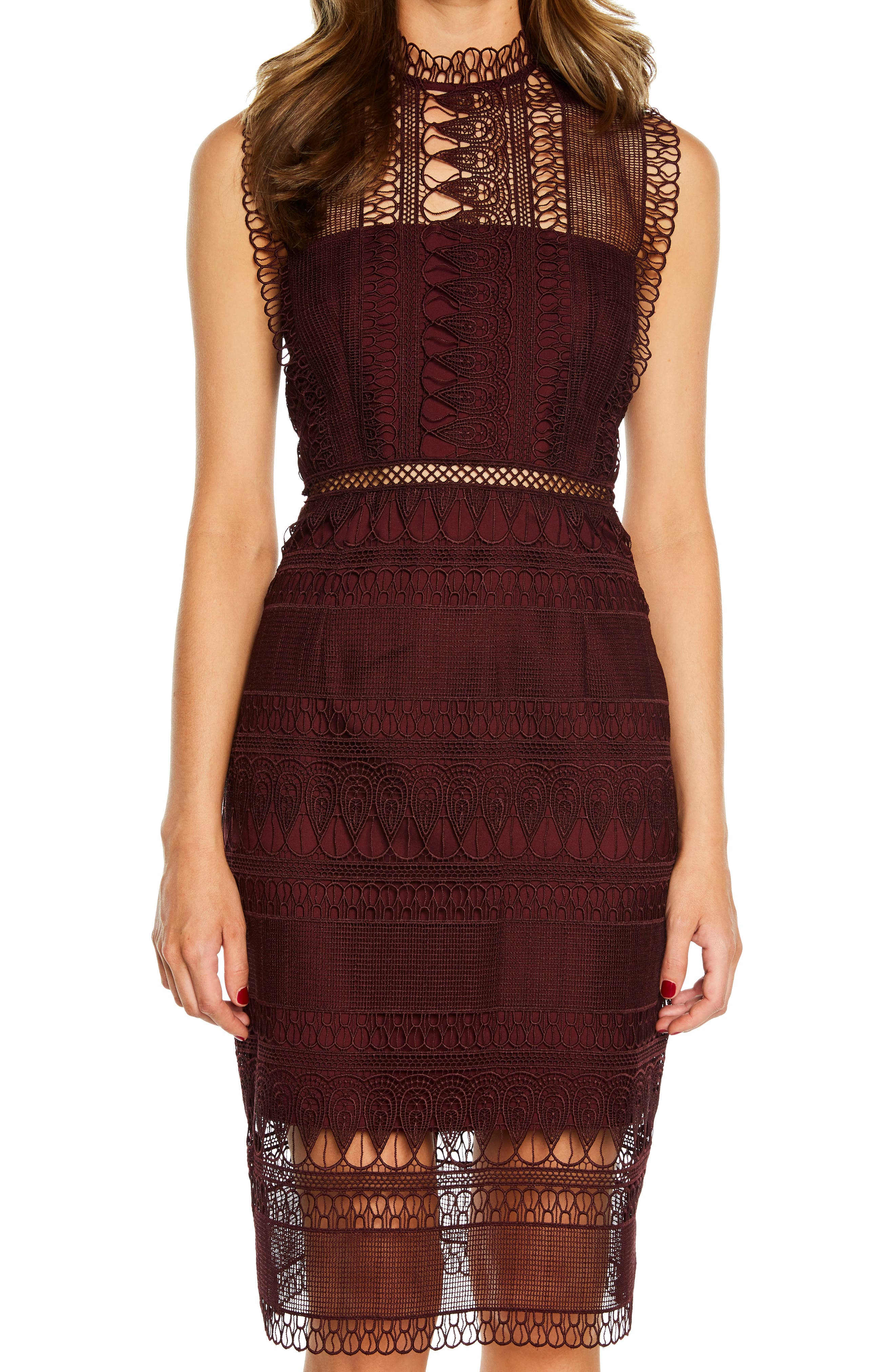 Bardot Mariana Lace Body-Con Dress, Burgundy