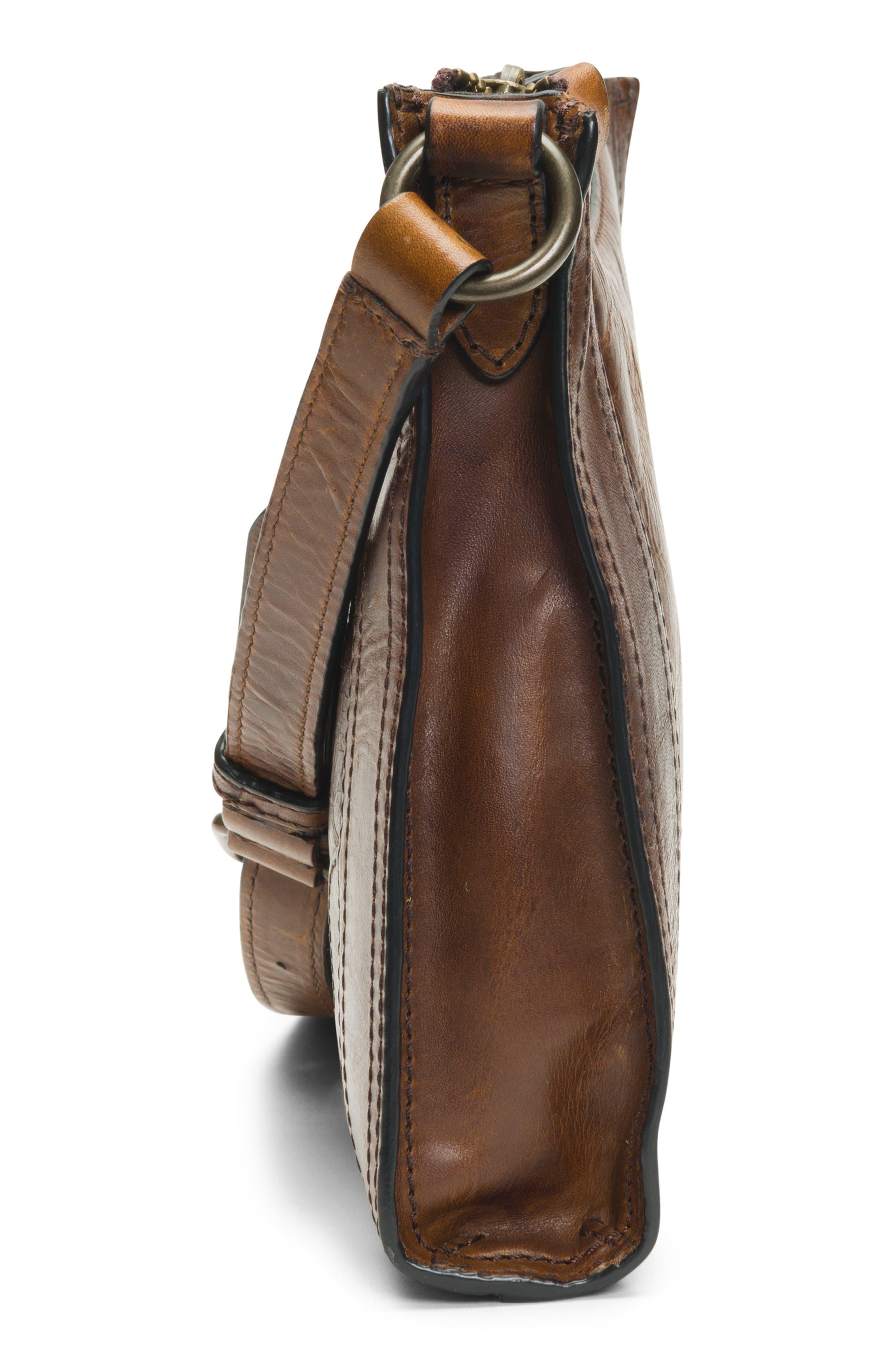 Melissa Leather Crossbody Bag,                             Alternate thumbnail 5, color,                             DARK BROWN