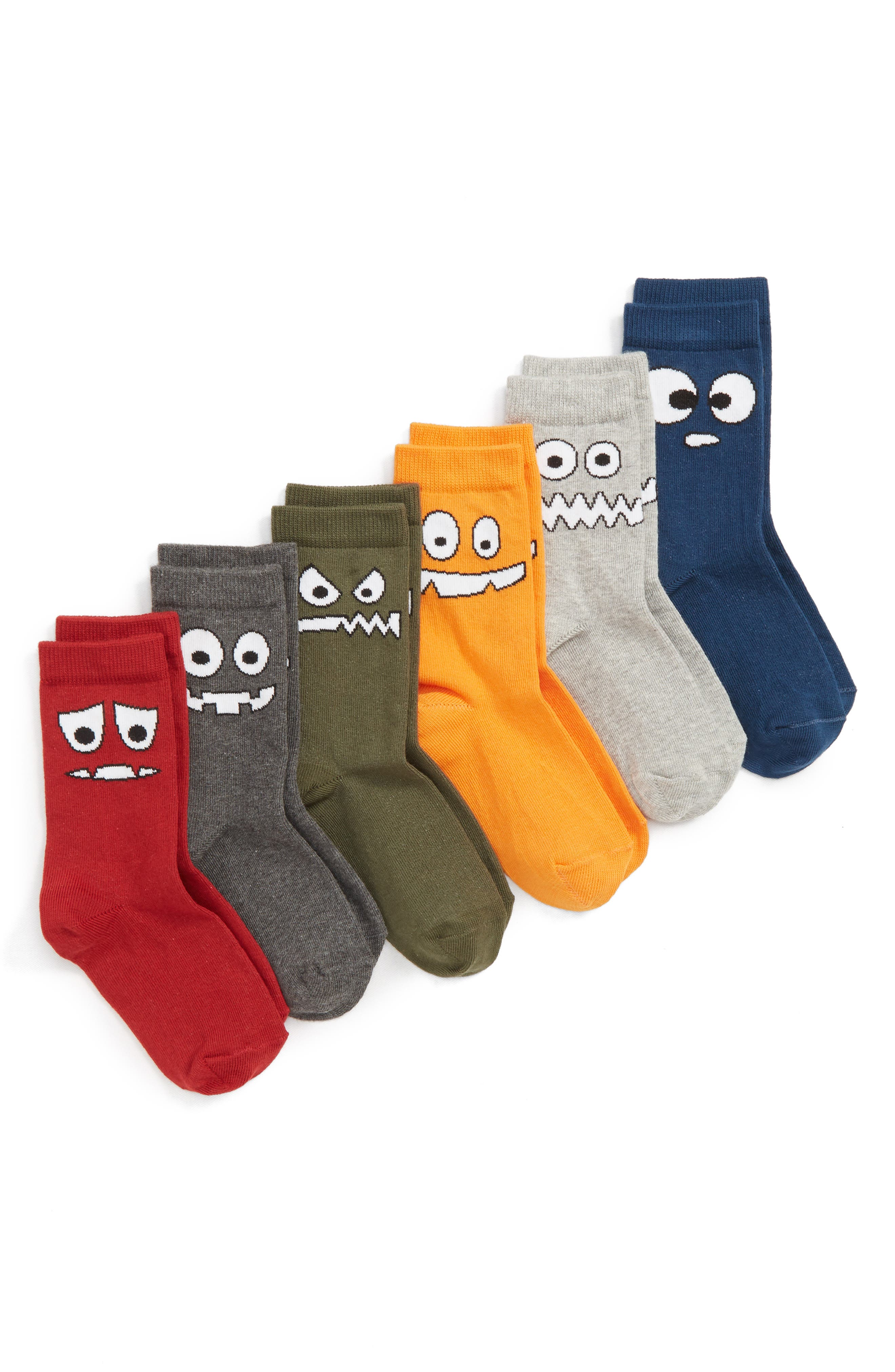 Silly Monster 6-Pack Crew Socks,                             Main thumbnail 1, color,                             GREY MEDIUM HEATHER MULTI