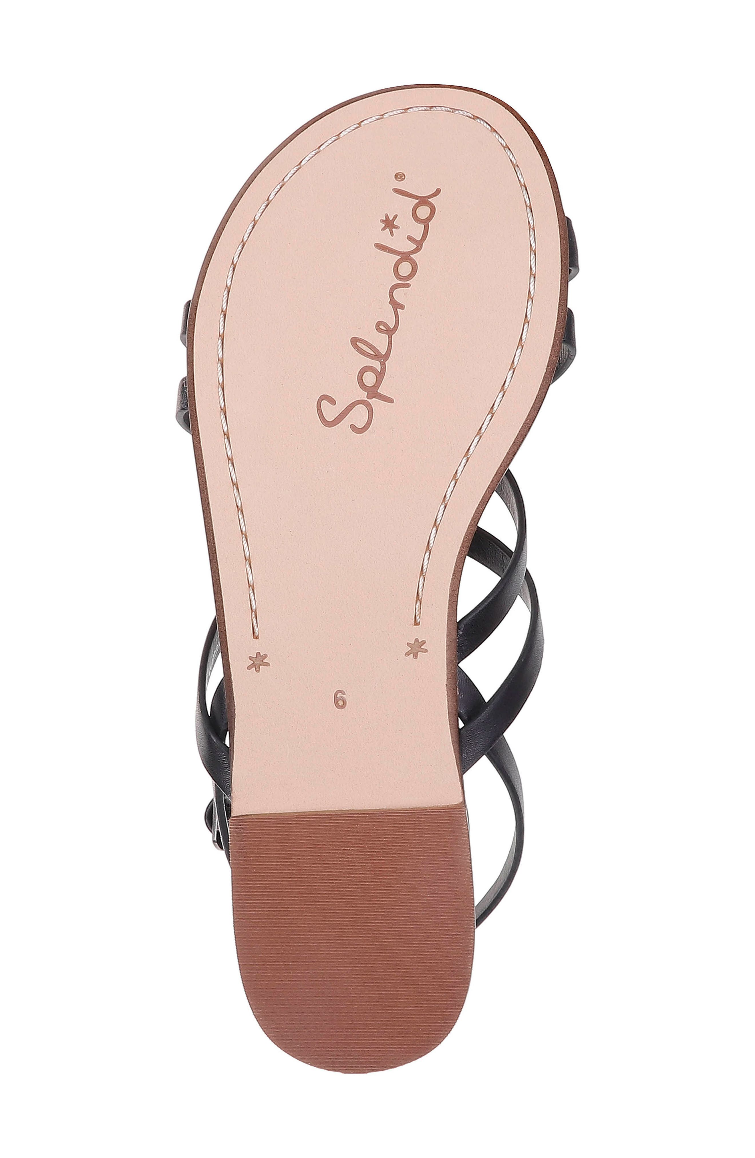 Sully Strappy Toe Loop Sandal,                             Alternate thumbnail 6, color,                             BLACK LEATHER