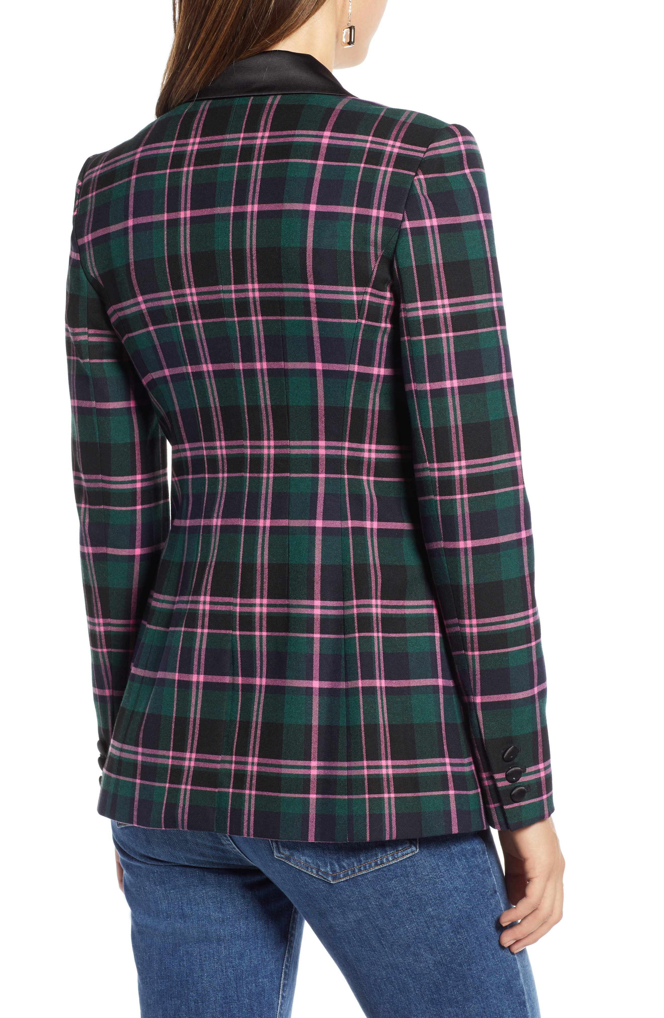 Double Breasted Plaid Blazer,                             Alternate thumbnail 2, color,                             301