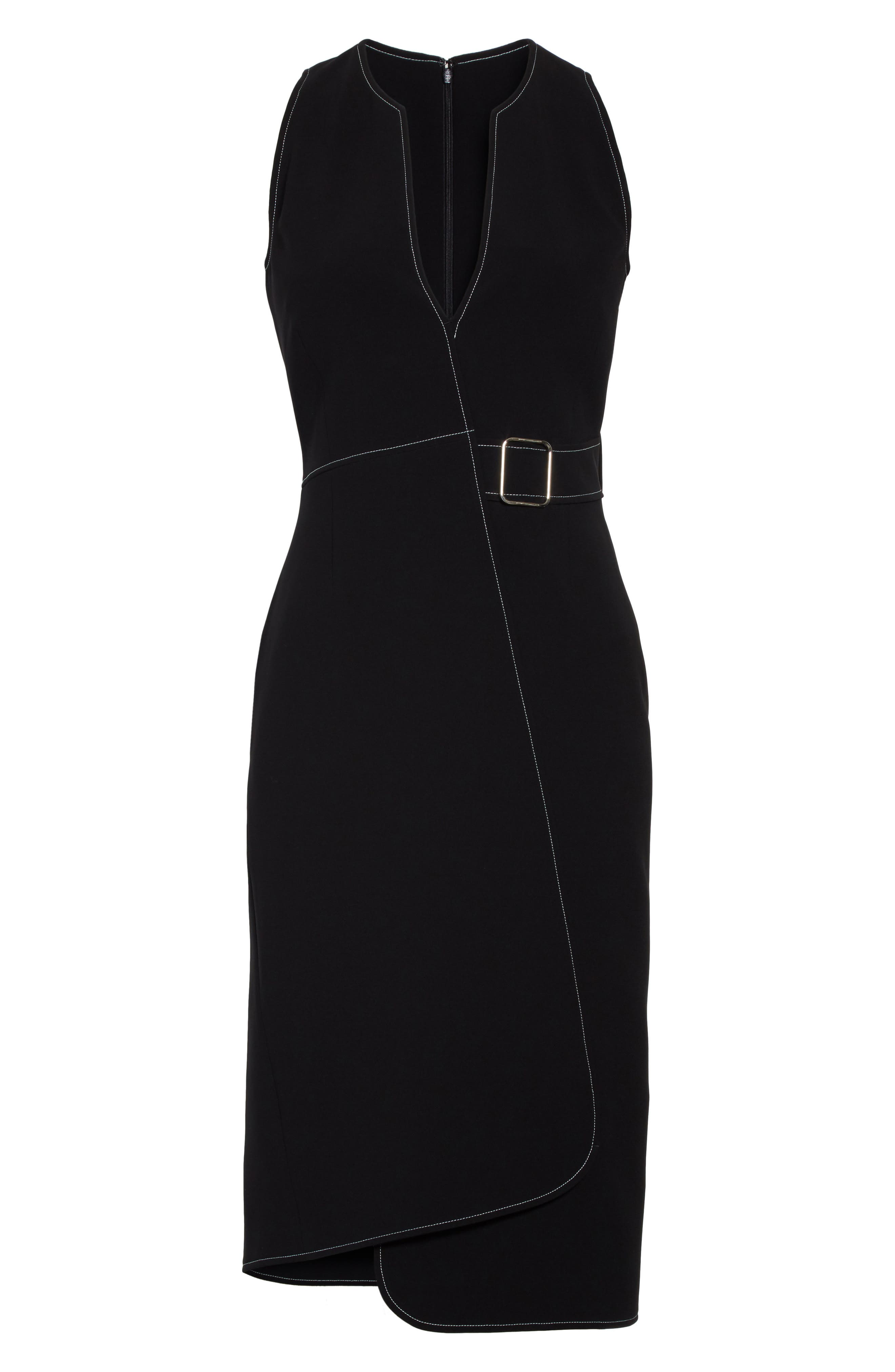 Asymmetrical Belted Dress,                             Alternate thumbnail 6, color,                             001