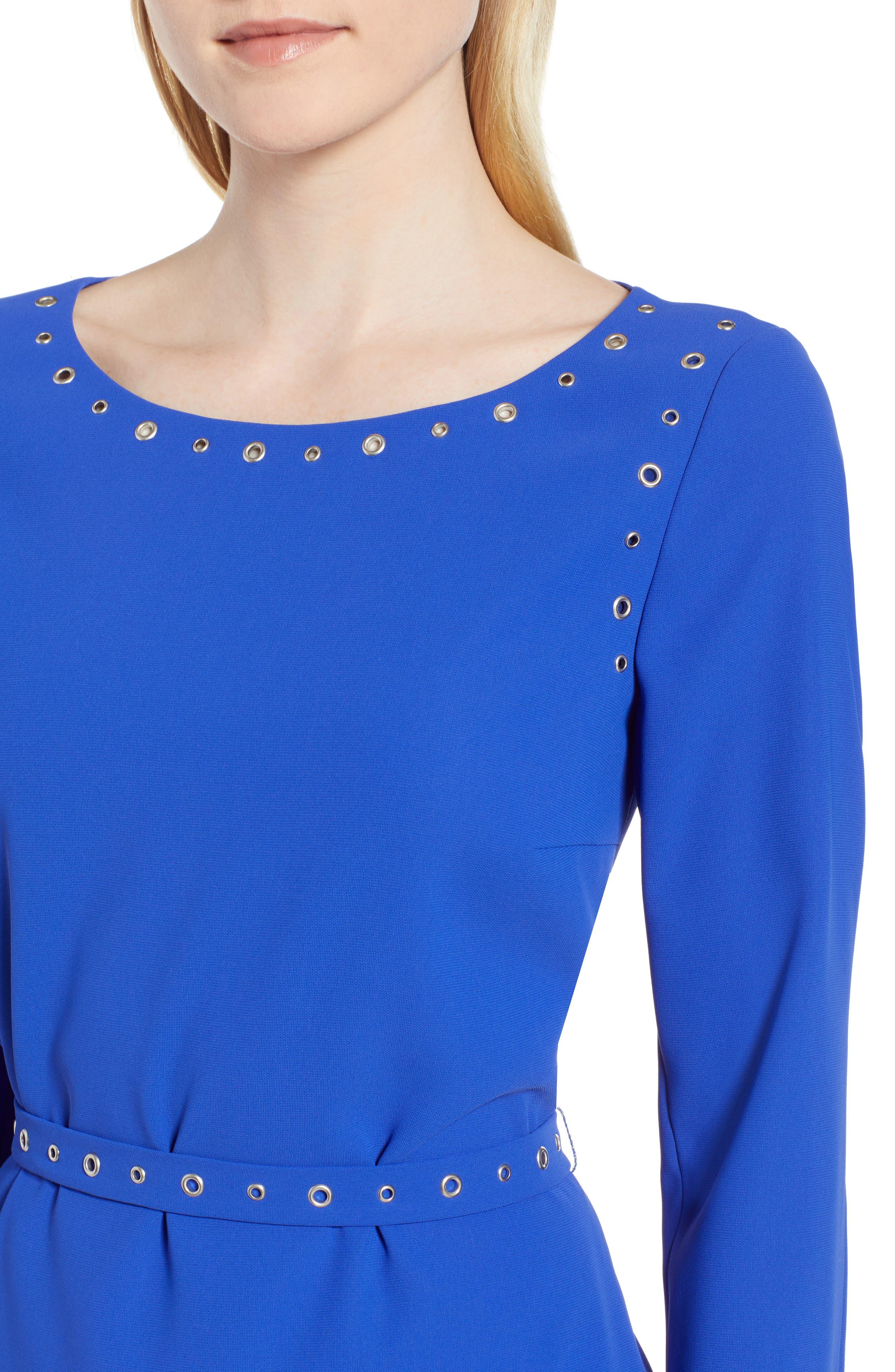 Henryke Rivet Crepe Dress,                             Alternate thumbnail 4, color,                             SAILOR BLUE