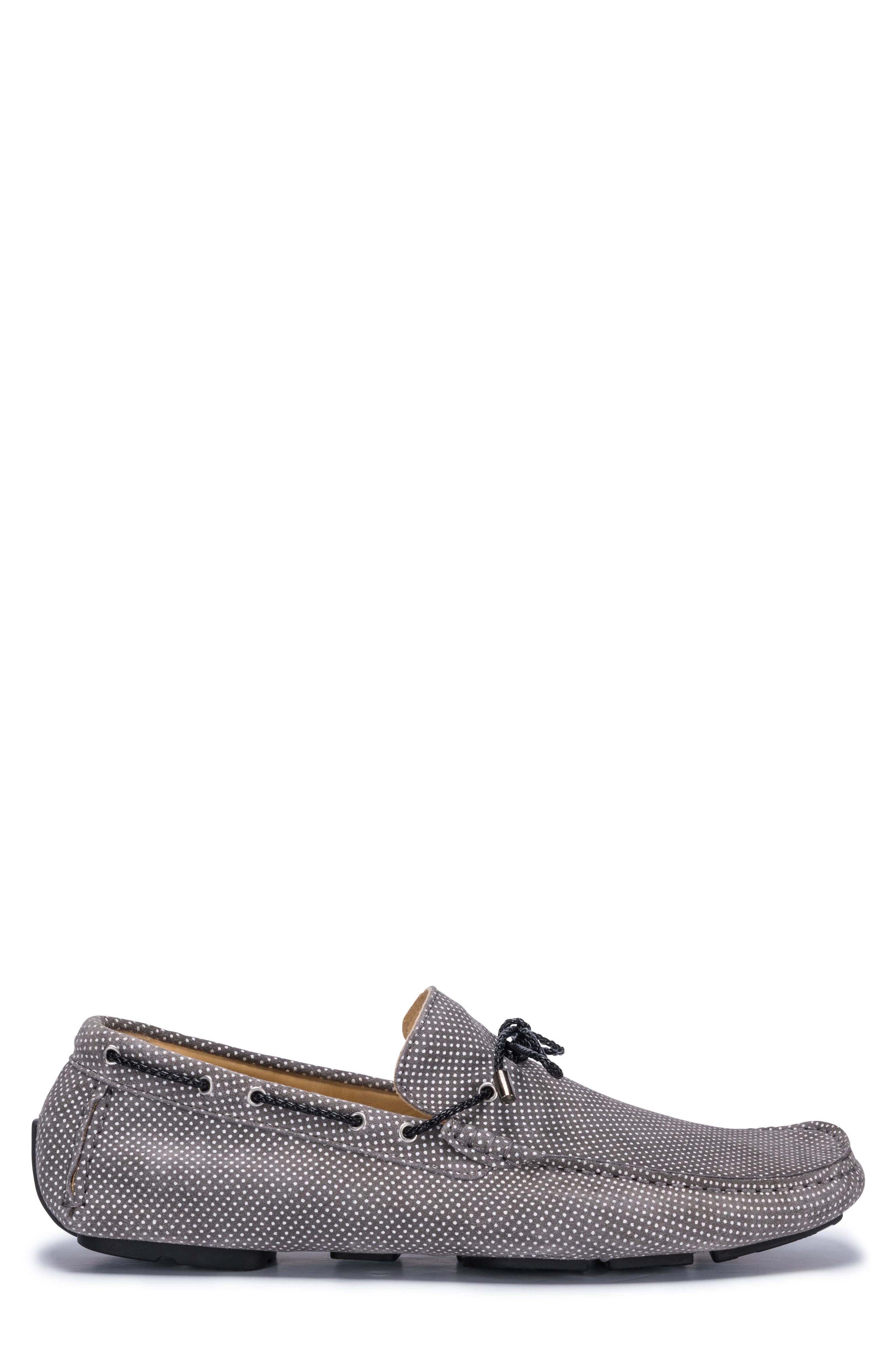 Sanremo Patterned Driving Loafer,                             Alternate thumbnail 3, color,                             GREY SUEDE
