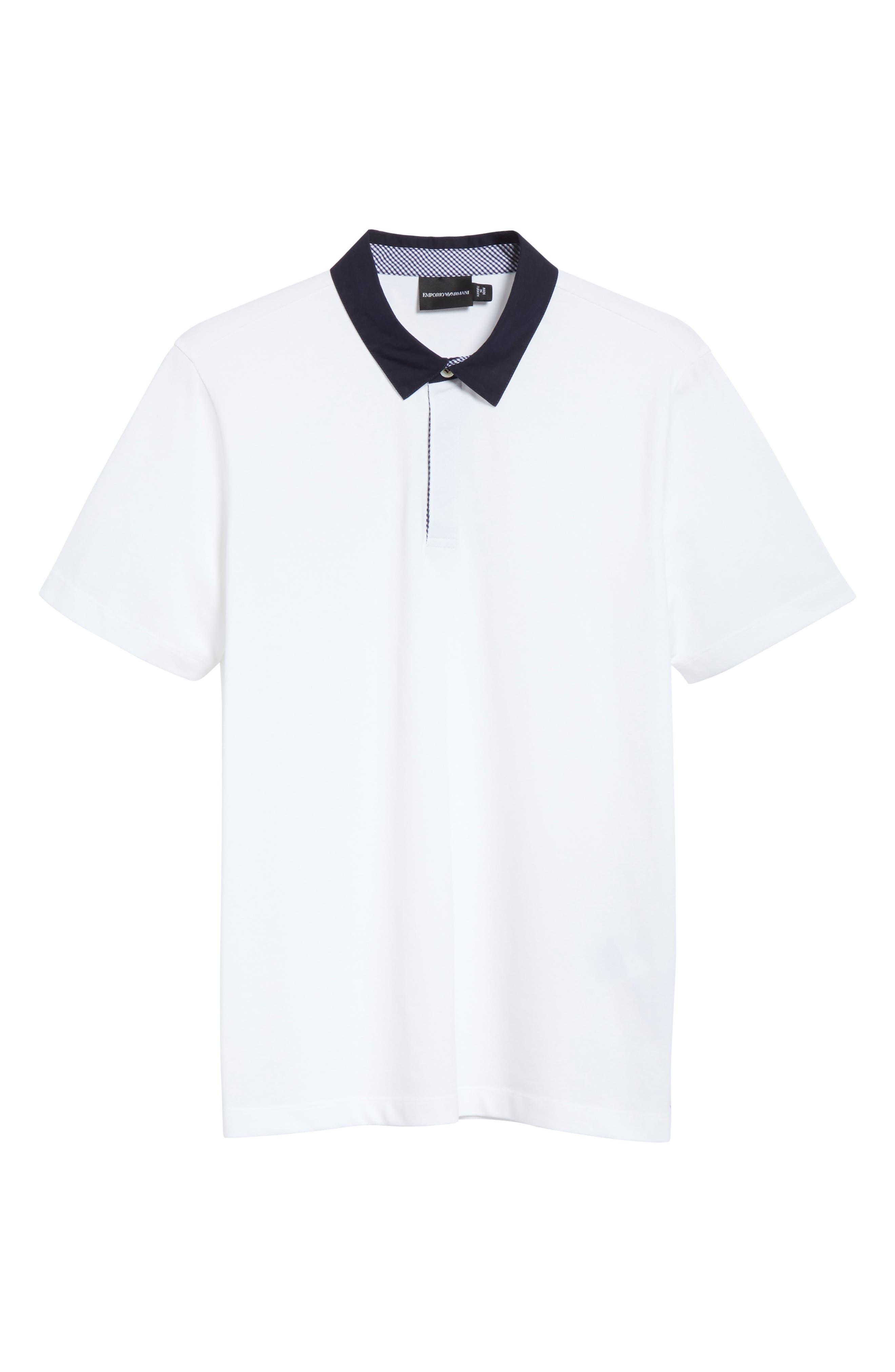 Stretch Cotton Polo Shirt,                             Alternate thumbnail 6, color,                             BIANCO OTTICO