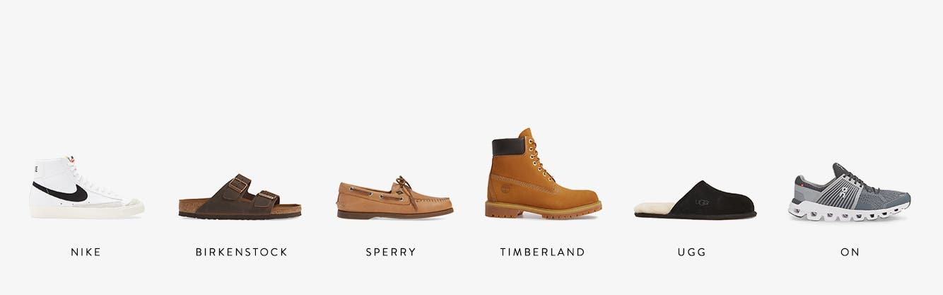 Shoes from Nike, Birkenstock, ECCO, Timberland, UGG and On.
