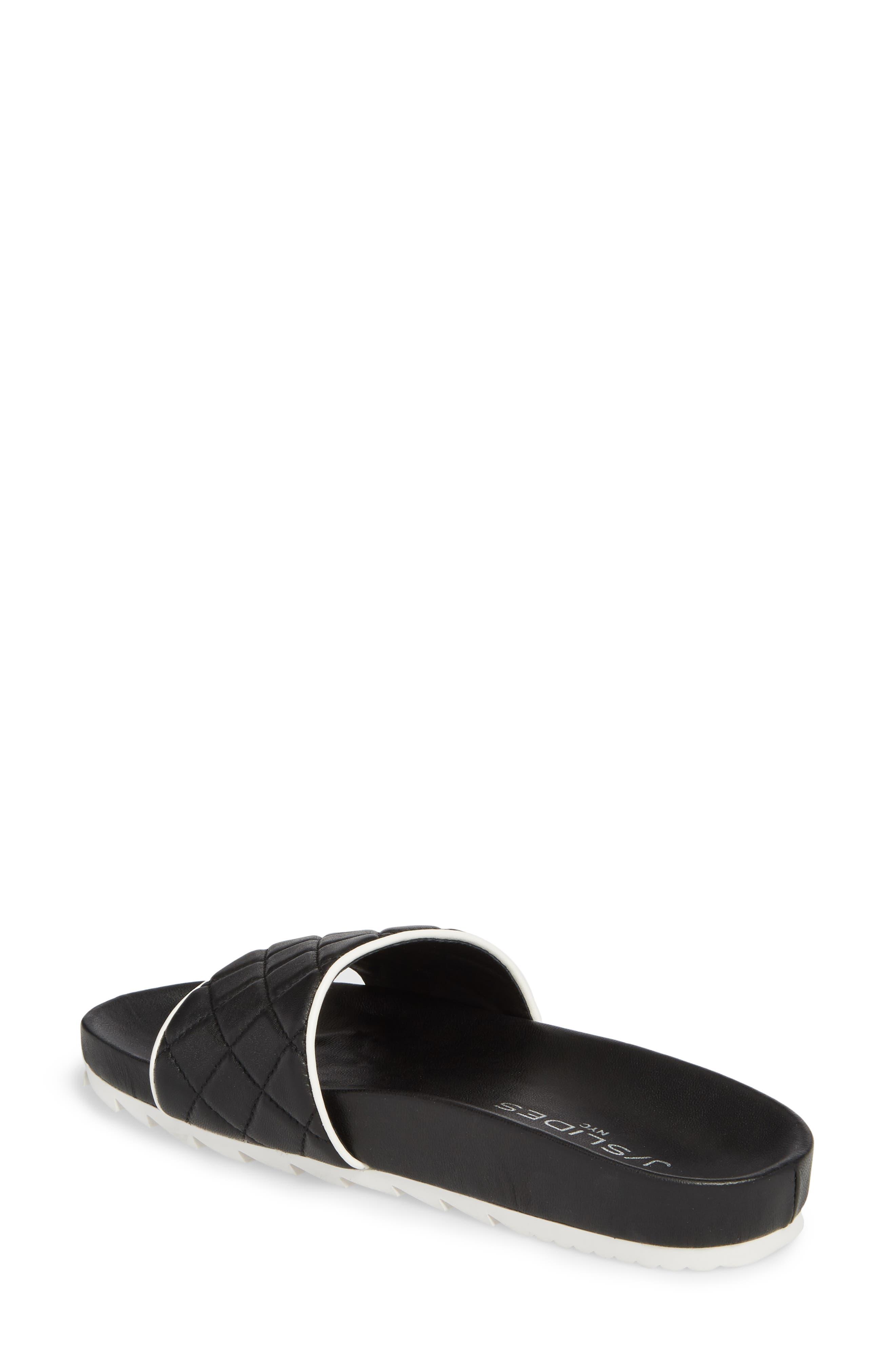 Edge Slide Sandal,                             Alternate thumbnail 2, color,                             BLACK LEATHER