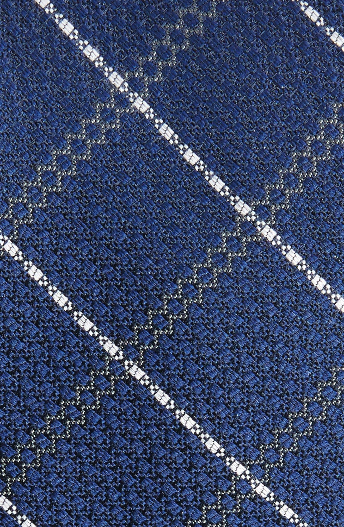 Plaid Silk & Wool Tie,                             Alternate thumbnail 2, color,                             NAVY