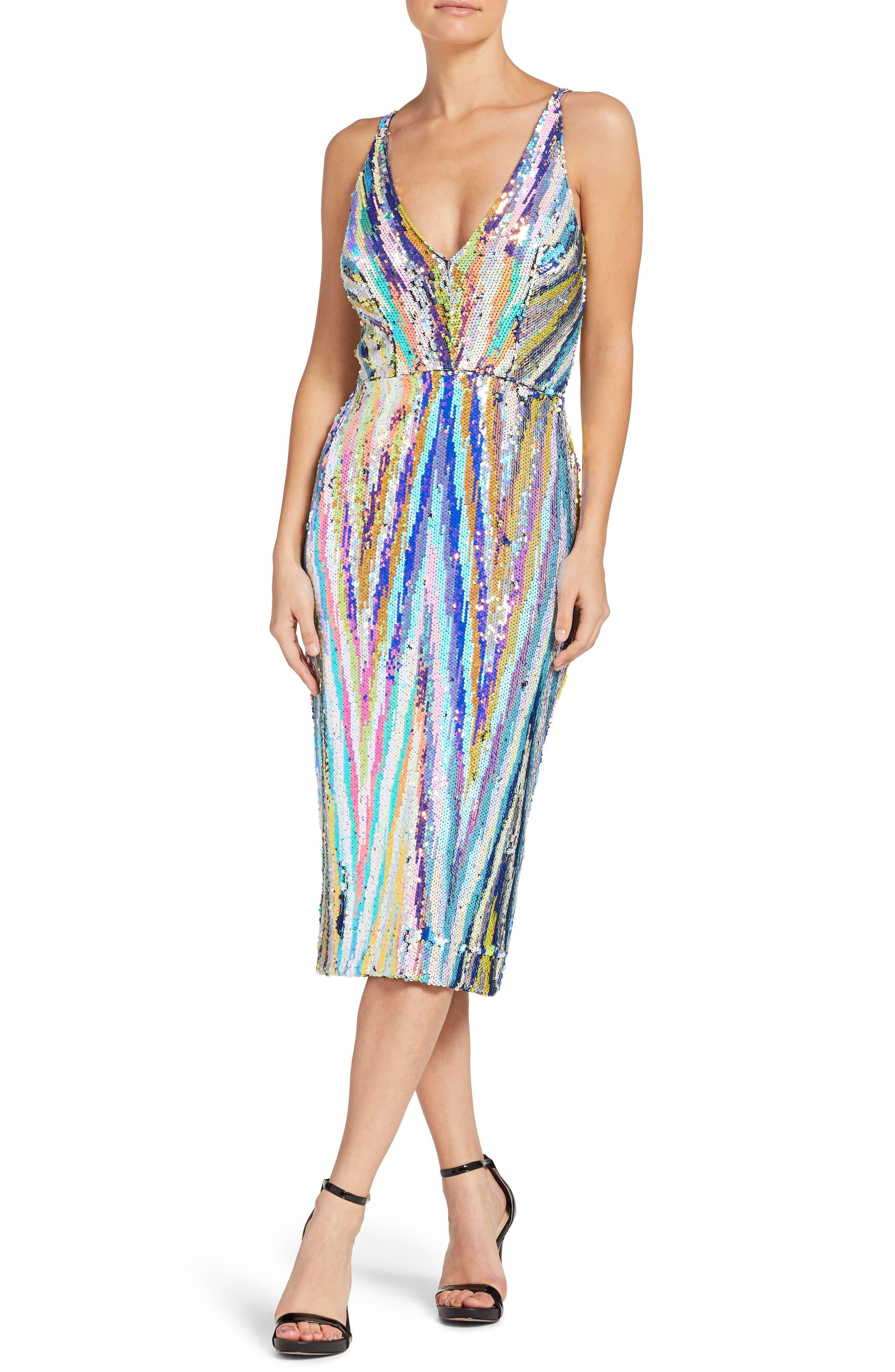 Margo Plunge Neck Sequin Dress,                             Main thumbnail 1, color,                             OPAL MULTI