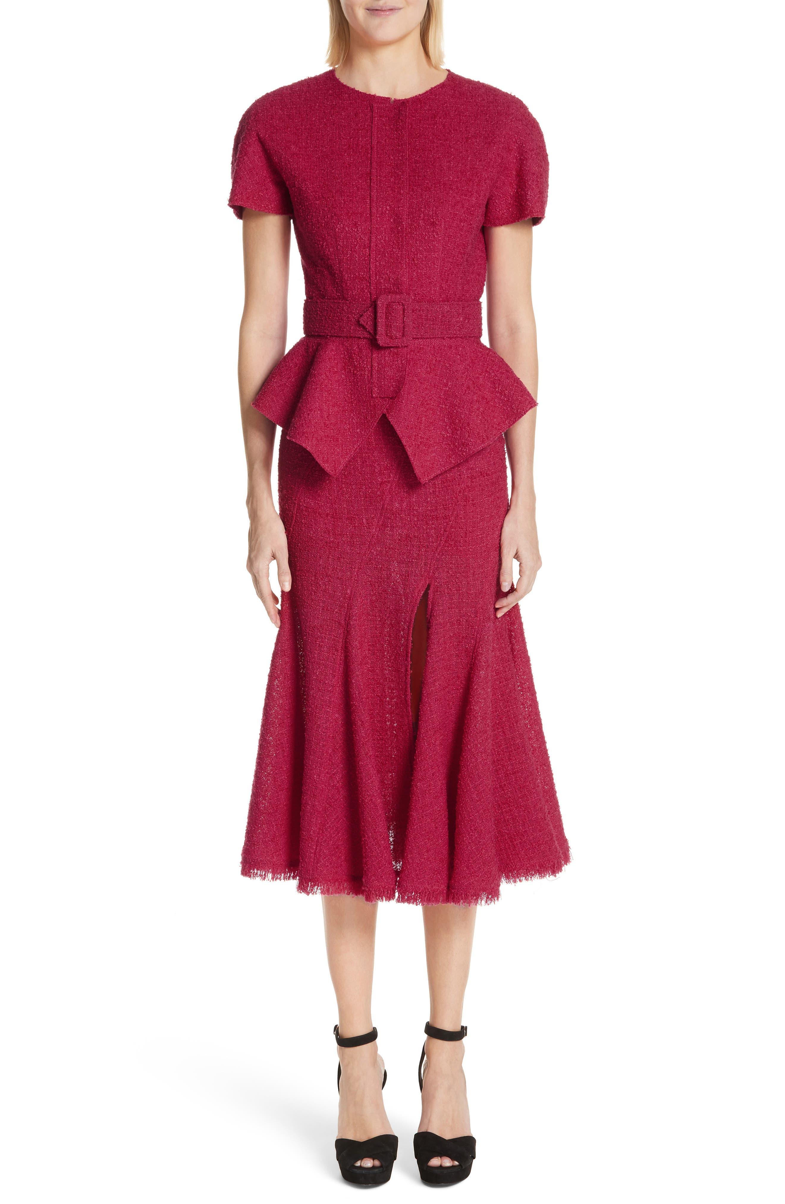 Belted Peplum Wool Blend Tweed Jacket,                             Alternate thumbnail 7, color,                             607