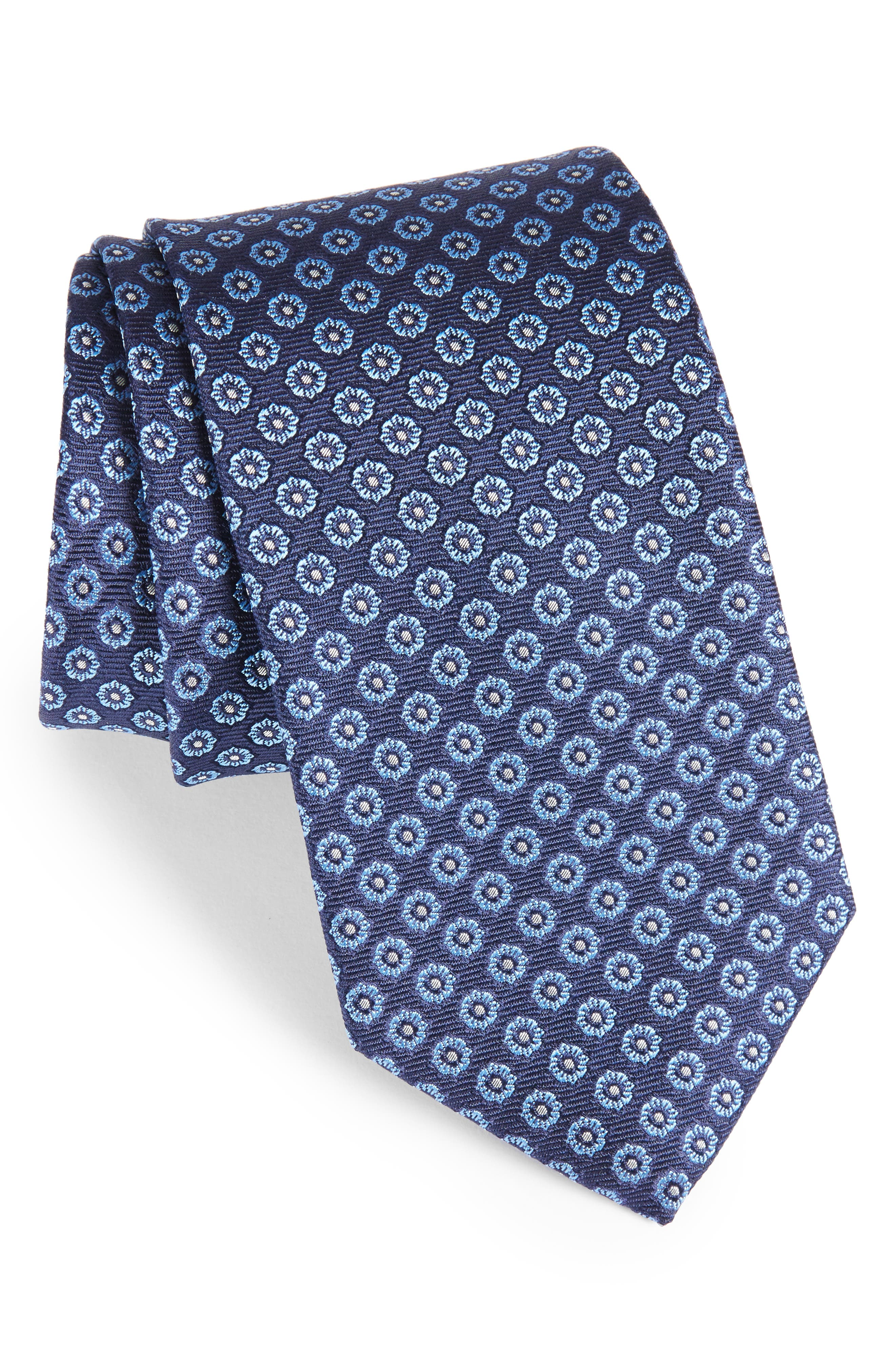 Floral Medallion Silk Tie,                             Main thumbnail 1, color,