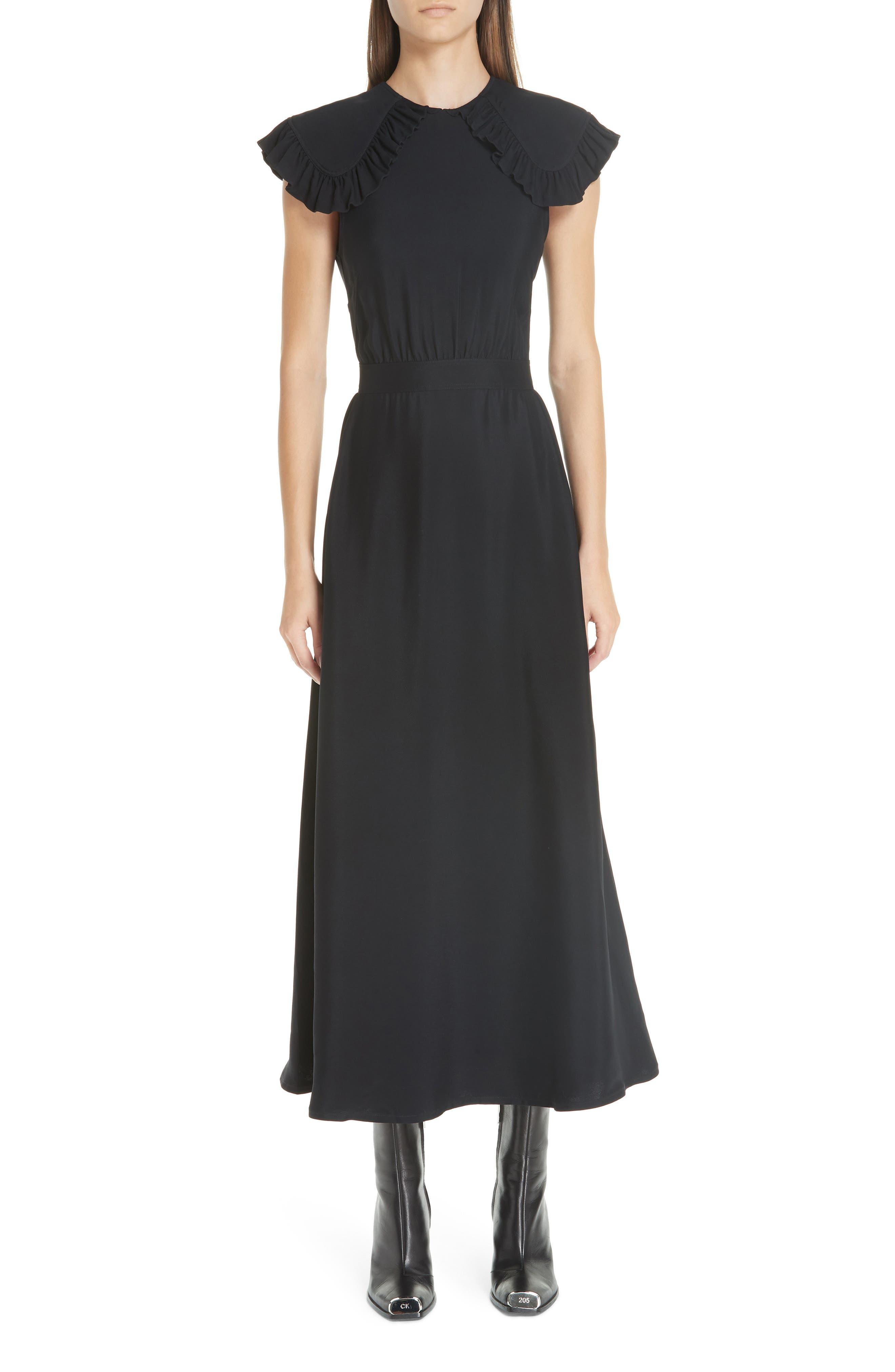 Cady Ruffle Pioneer Dress,                         Main,                         color, BLACK