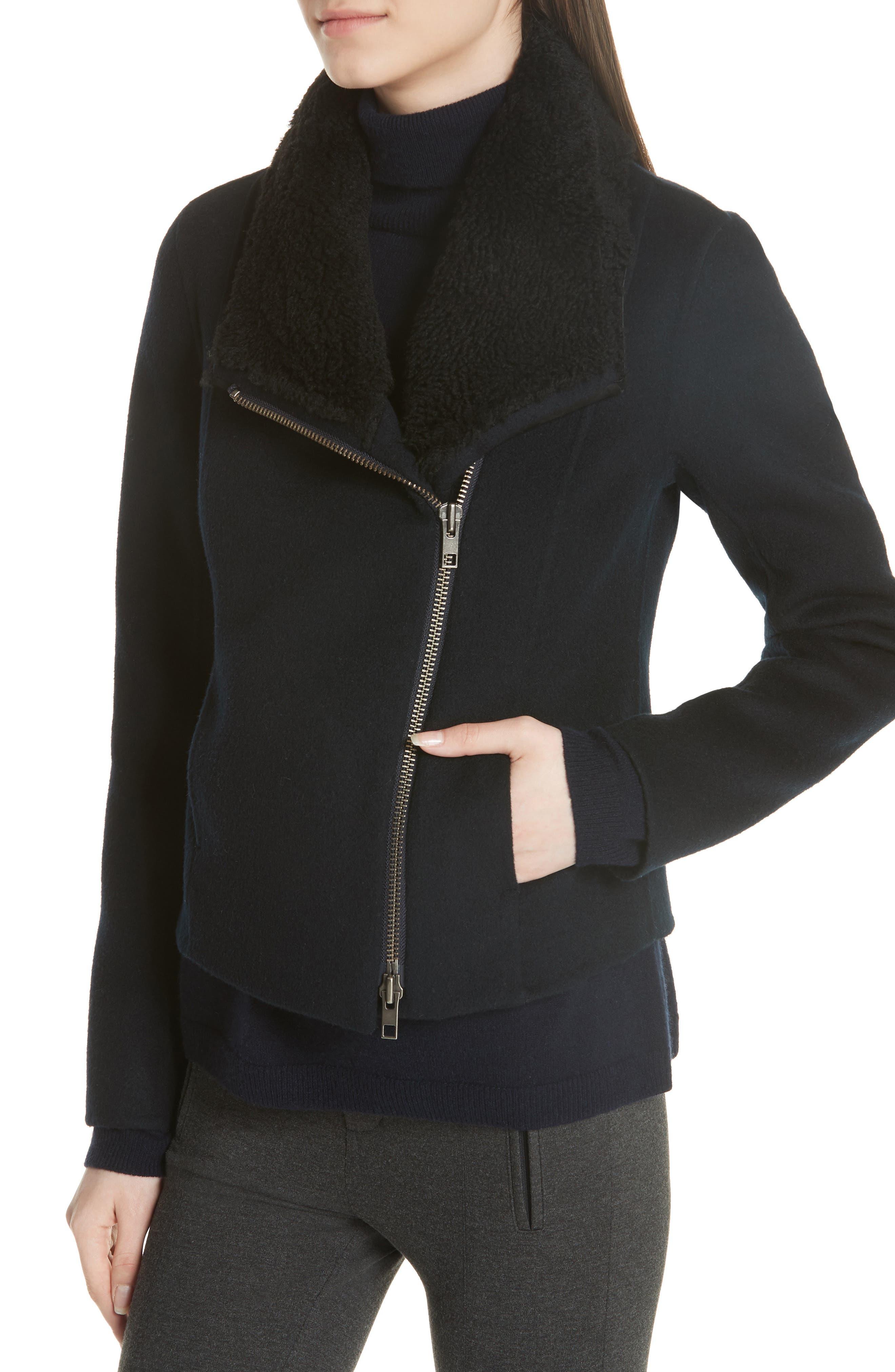Double Face Genuine Shearling Collar Jacket,                             Alternate thumbnail 4, color,                             COASTAL