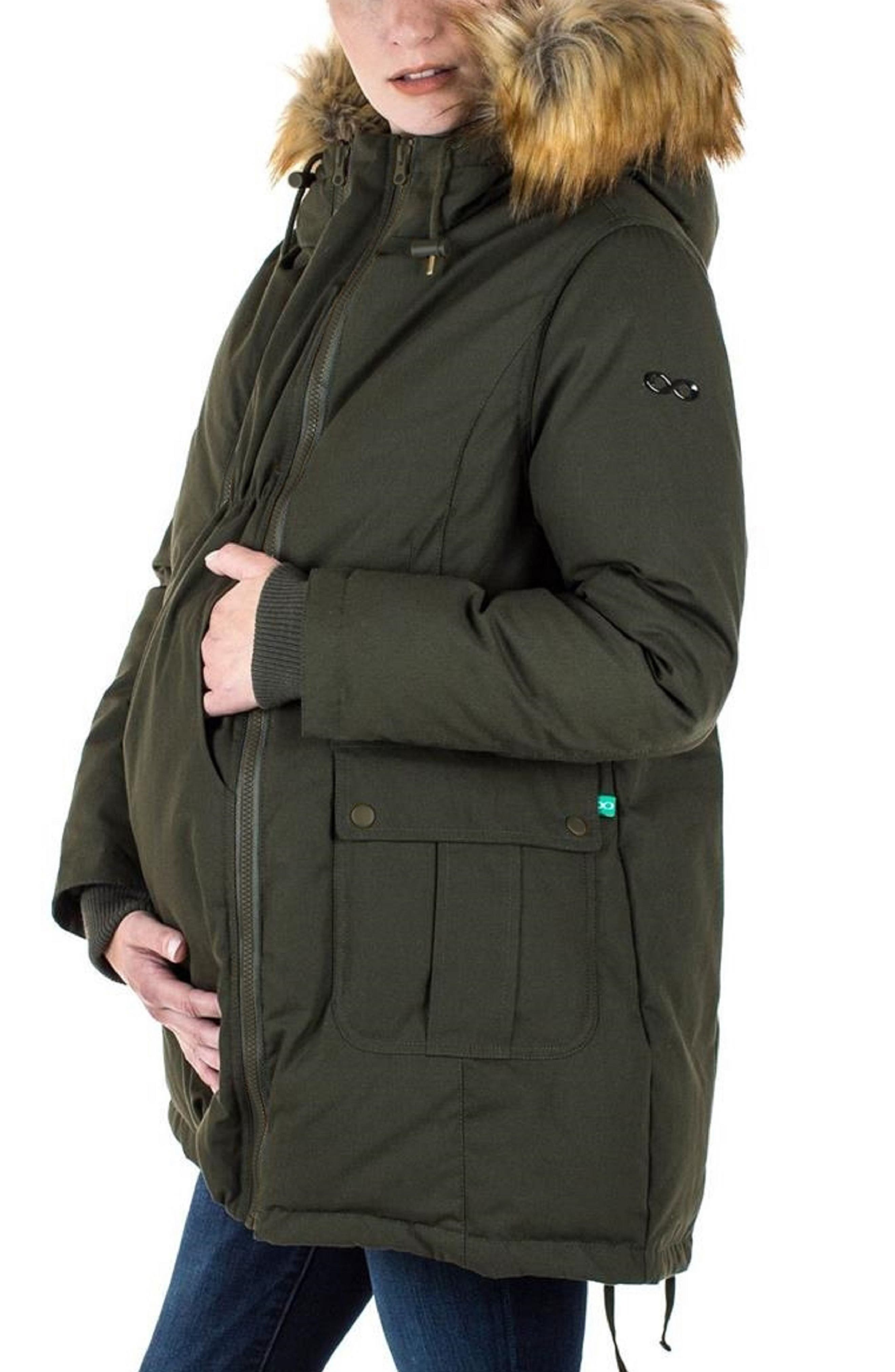Convertible Down 3-in-1 Maternity Jacket,                             Alternate thumbnail 4, color,                             KHAKI GREEN