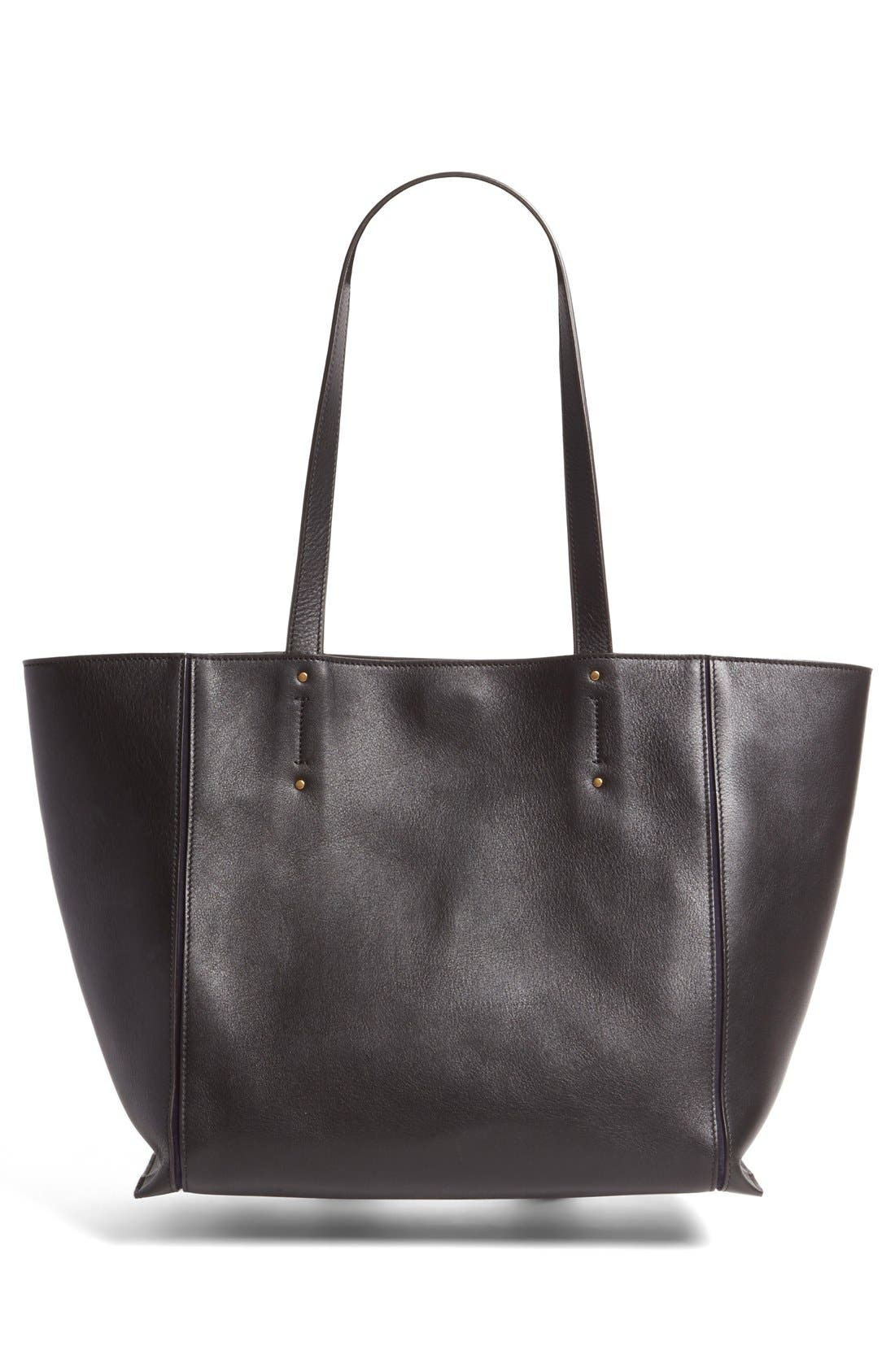 Medium Milo Calfskin Leather Tote,                             Alternate thumbnail 3, color,                             BLACK
