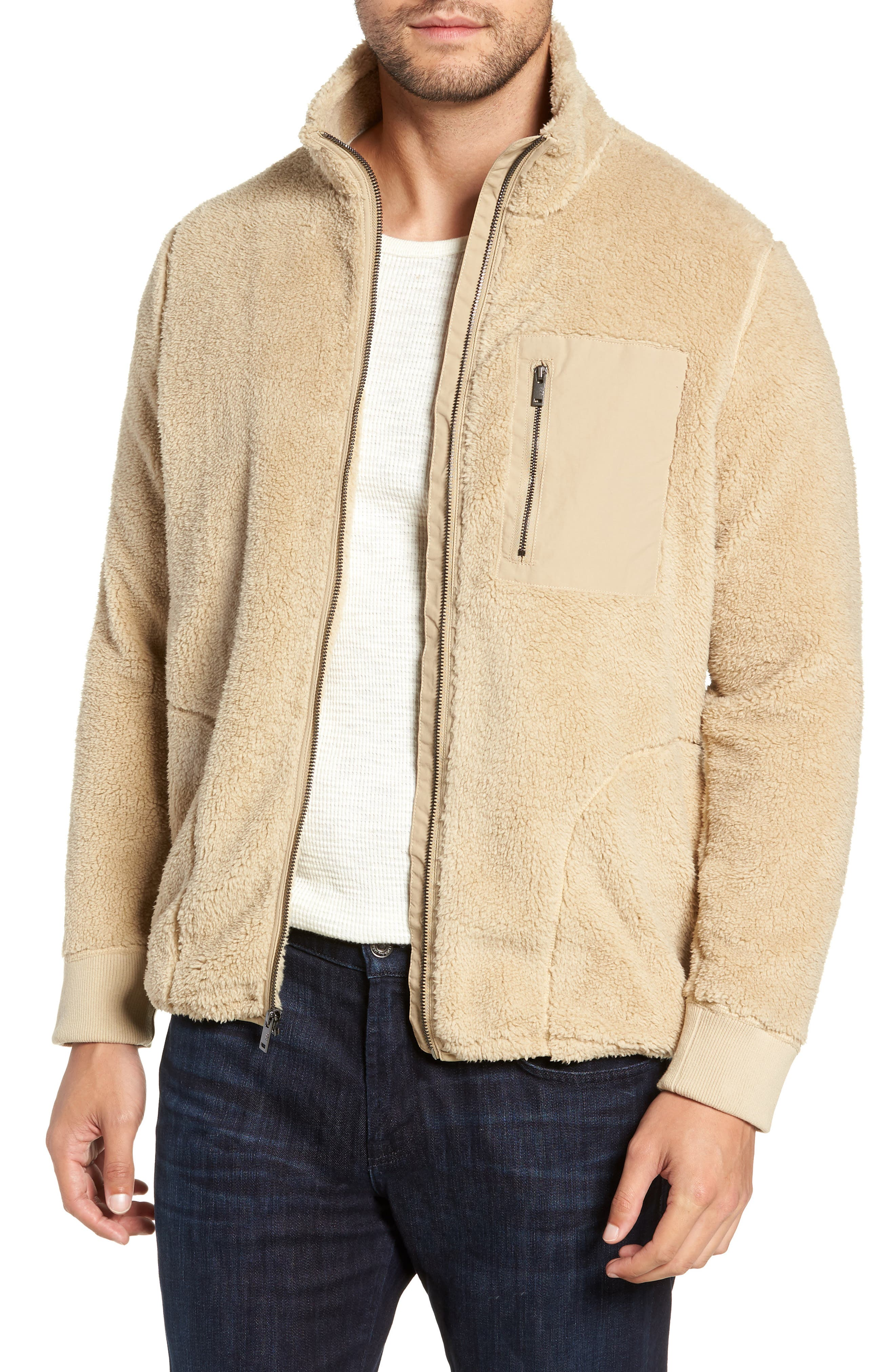 Lucas High Pile Fleece Sweater Jacket,                         Main,                         color, SAND