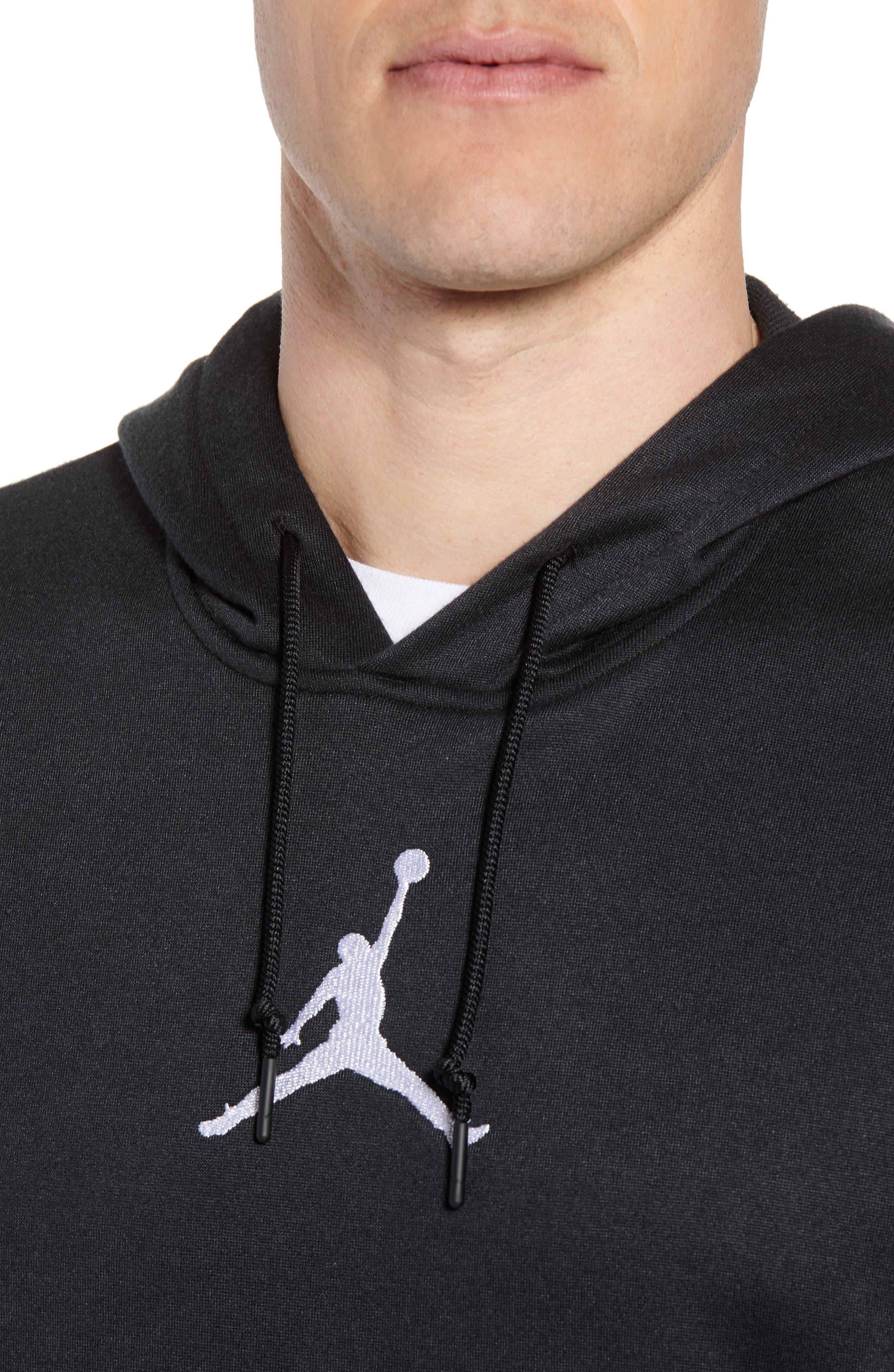 Nike Air Jordon Short Sleeve Basketball Hoodie,                             Alternate thumbnail 4, color,                             BLACK/ WHITE