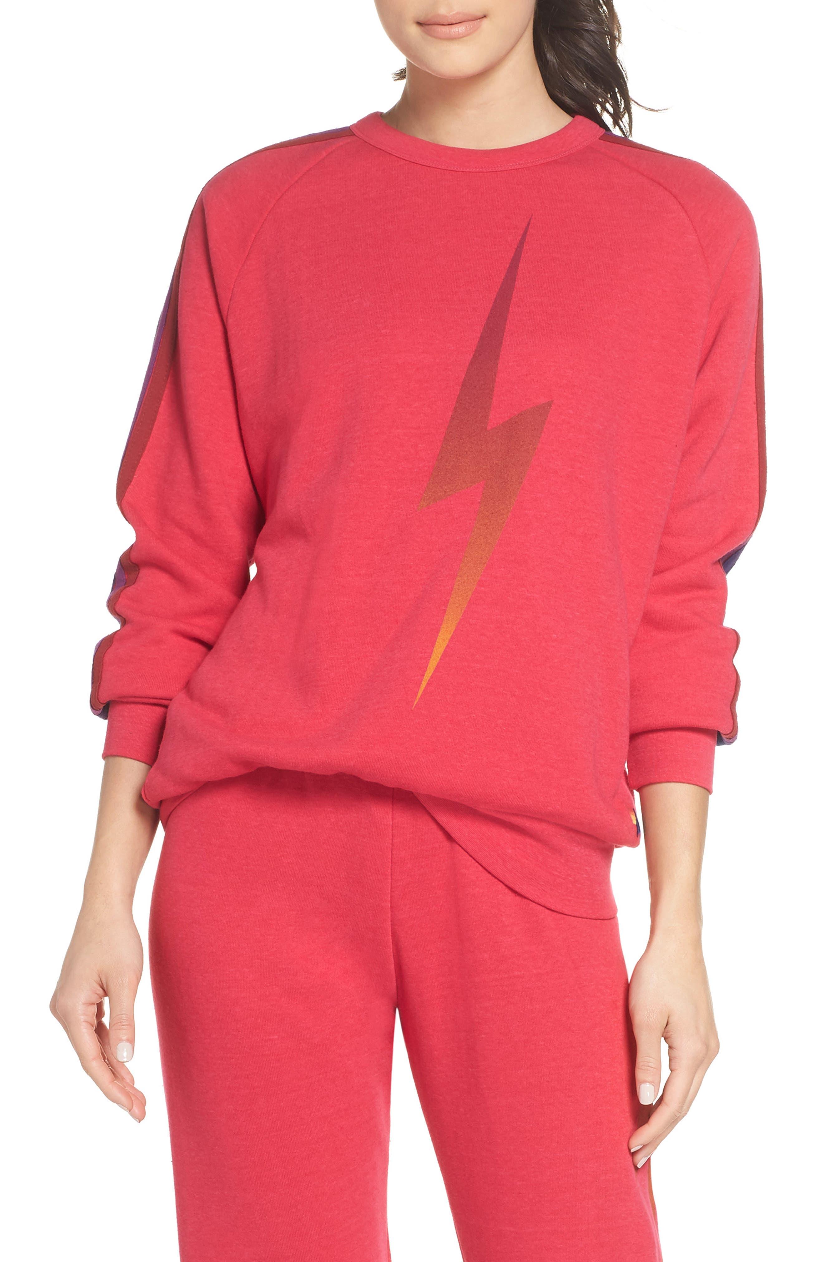 AVIATOR NATION Bolt Fade Sweatshirt in Rose/ Purple