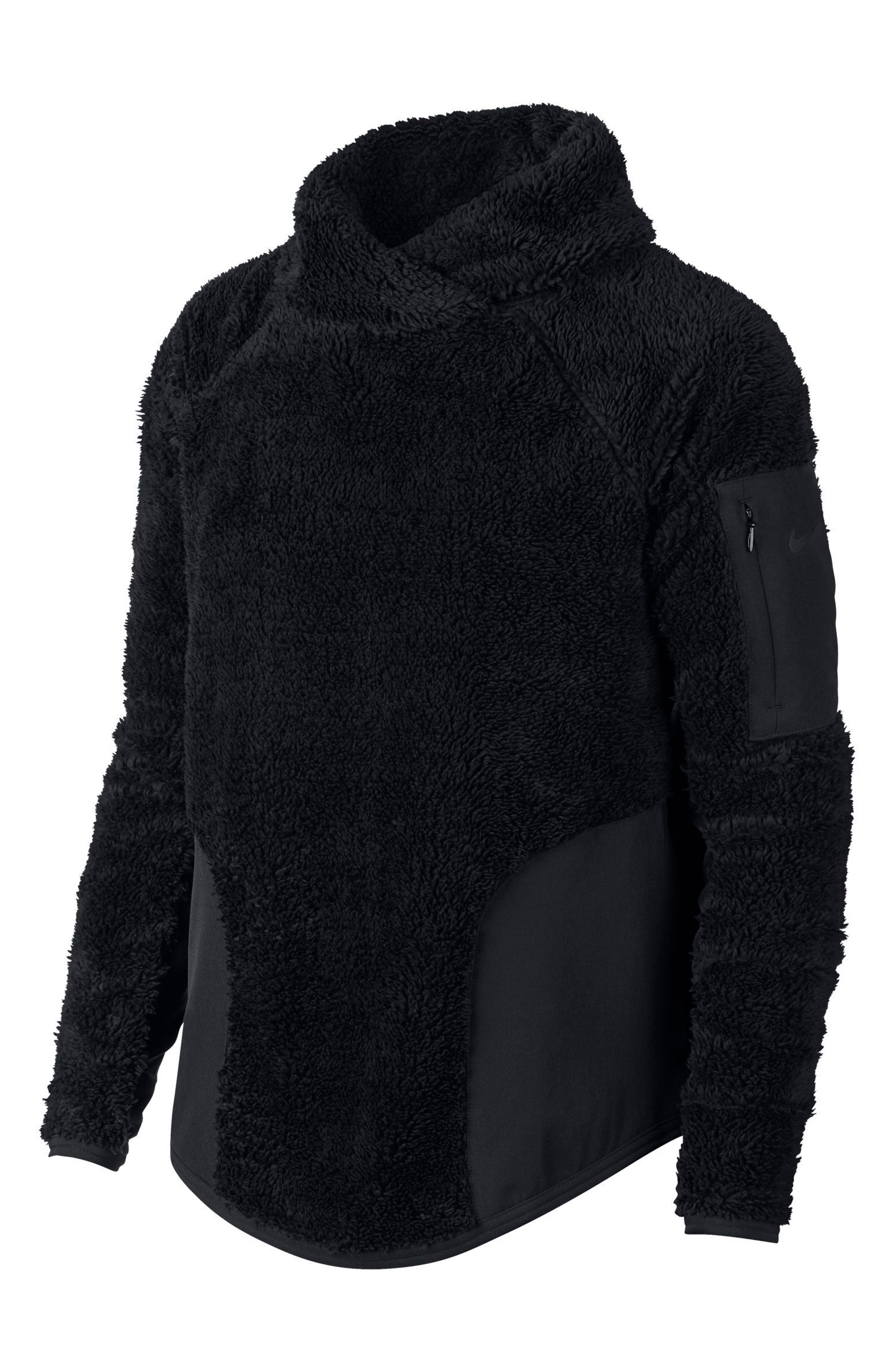 Stand-Collar Sherpa Pullover Active Top in Black/ Black