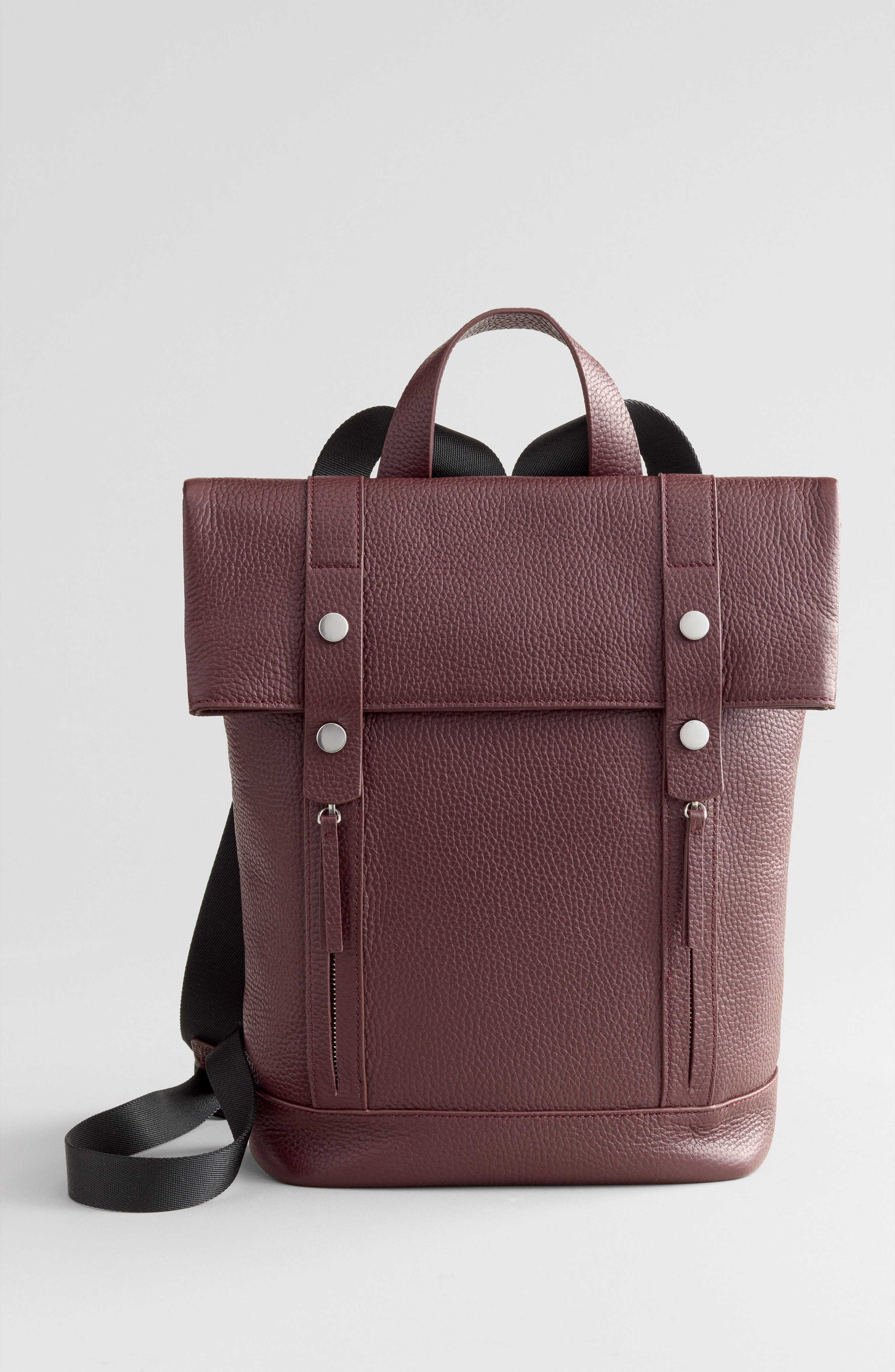 Remy Pebbled Leather Backpack,                             Alternate thumbnail 7, color,                             BURGUNDY FIG