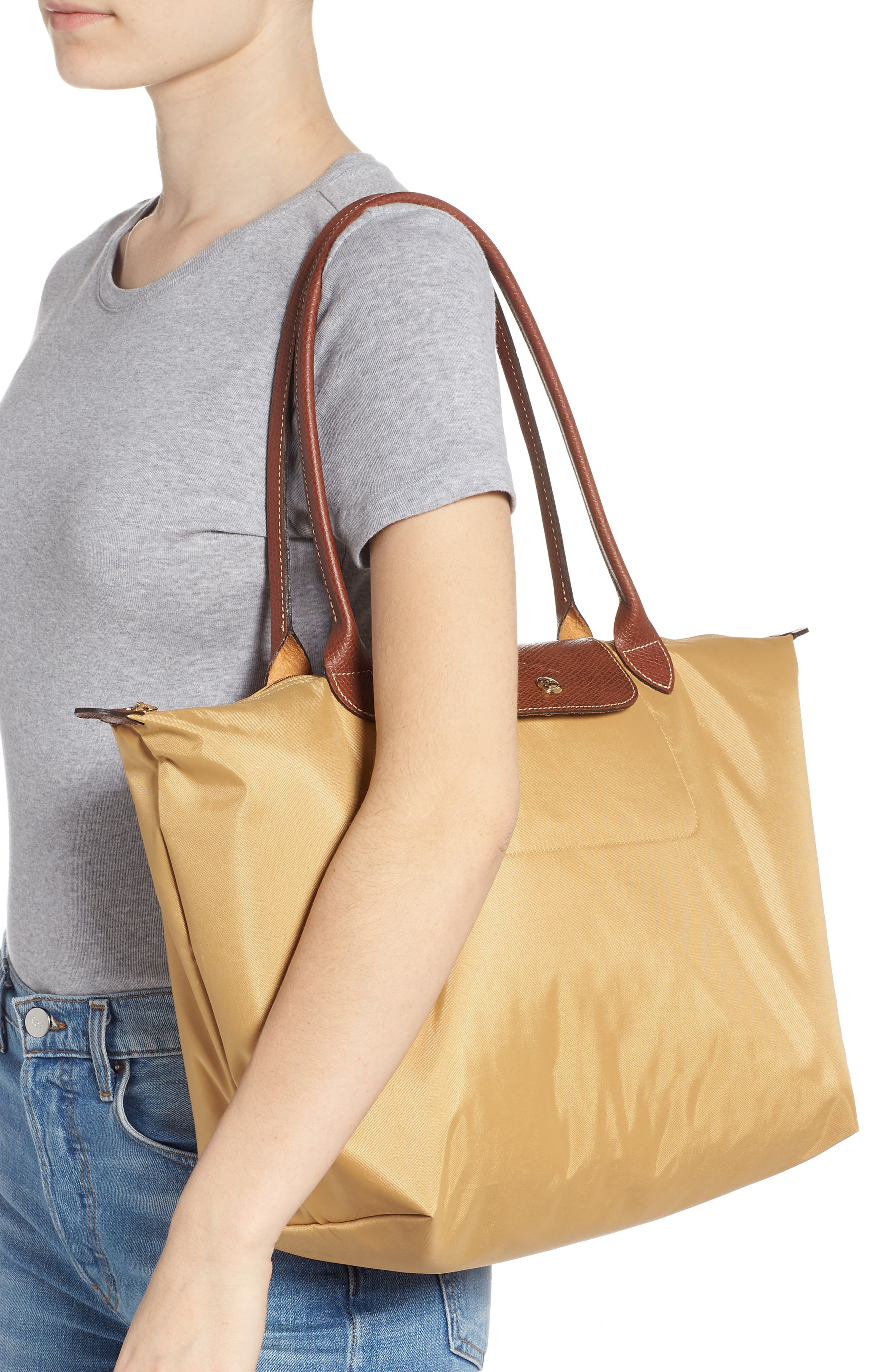 'Large Le Pliage' Tote,                             Alternate thumbnail 2, color,                             HONEY