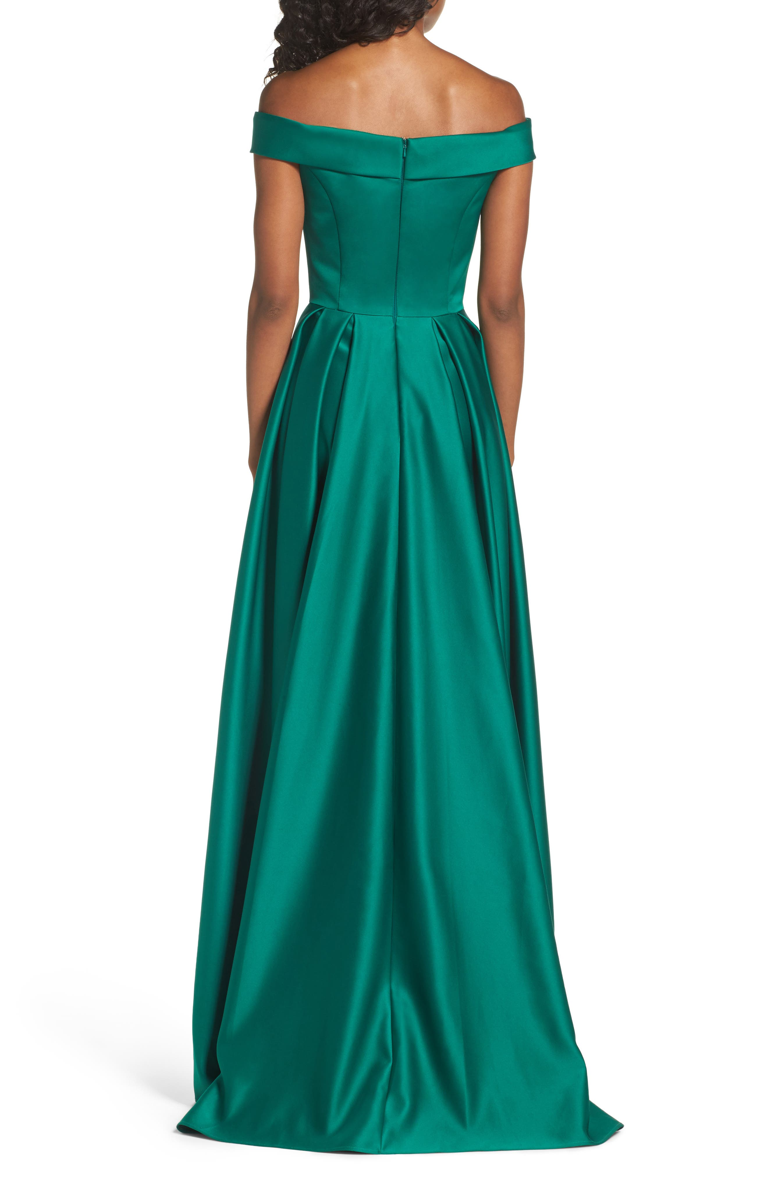 Mikado Off the Shoulder Gown,                             Alternate thumbnail 2, color,                             EMERALD