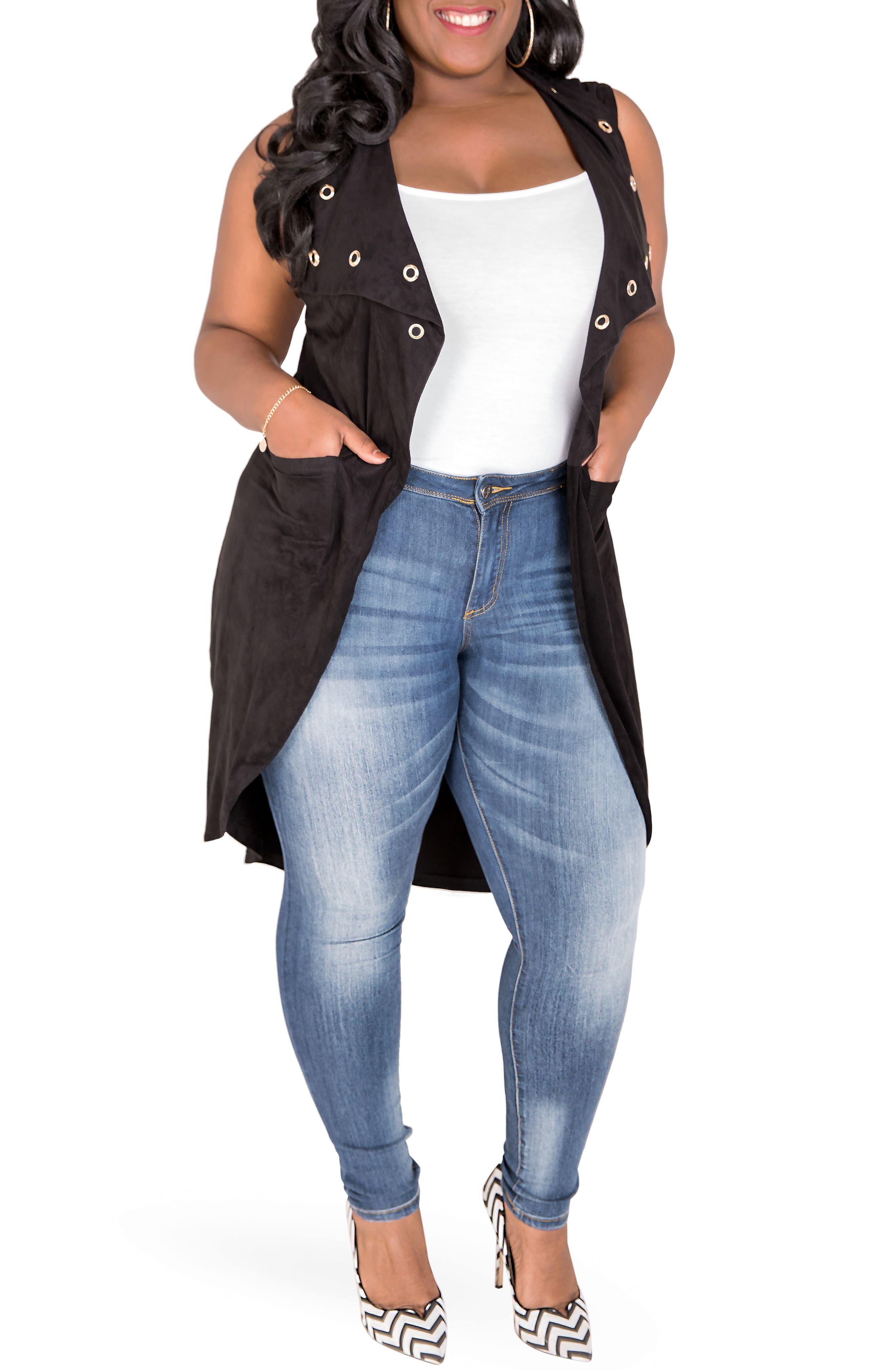 Kelis Long Faux Suede Vest,                             Alternate thumbnail 2, color,                             BLACK