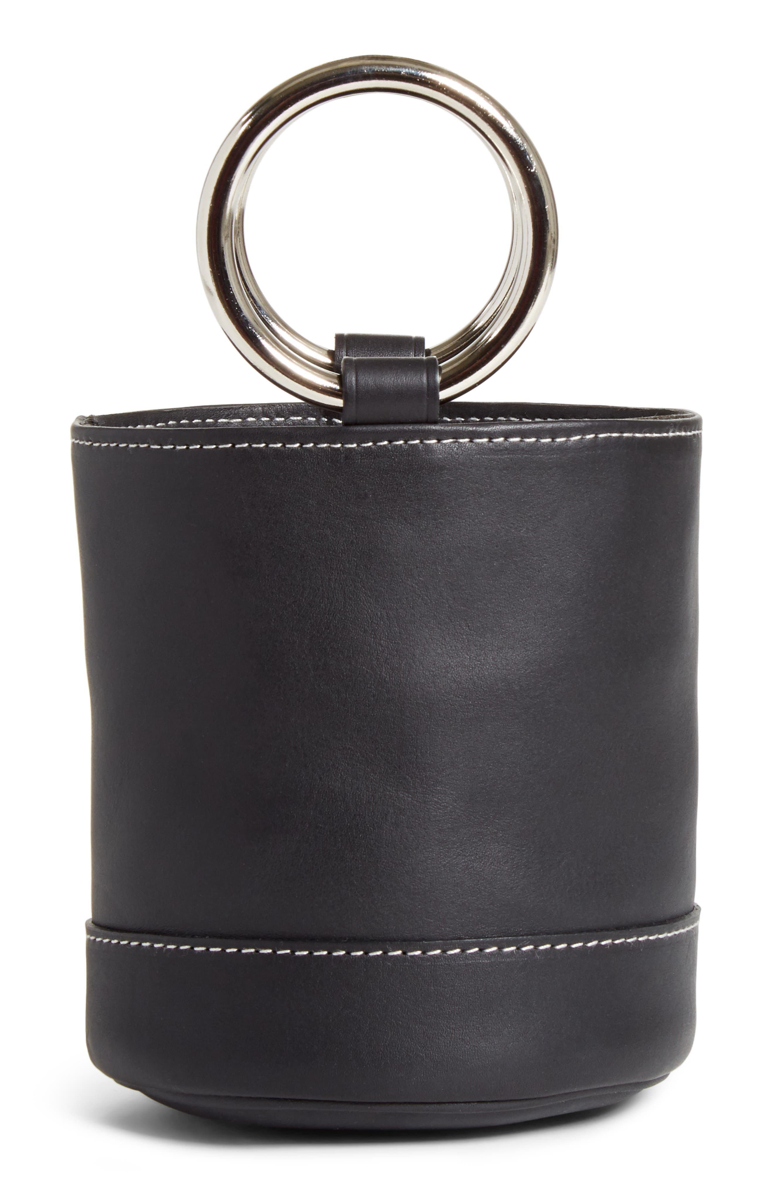 Bonsai 15 Calfskin Leather Bucket Bag,                             Alternate thumbnail 3, color,                             BLACK WITH WHITE STITCHING