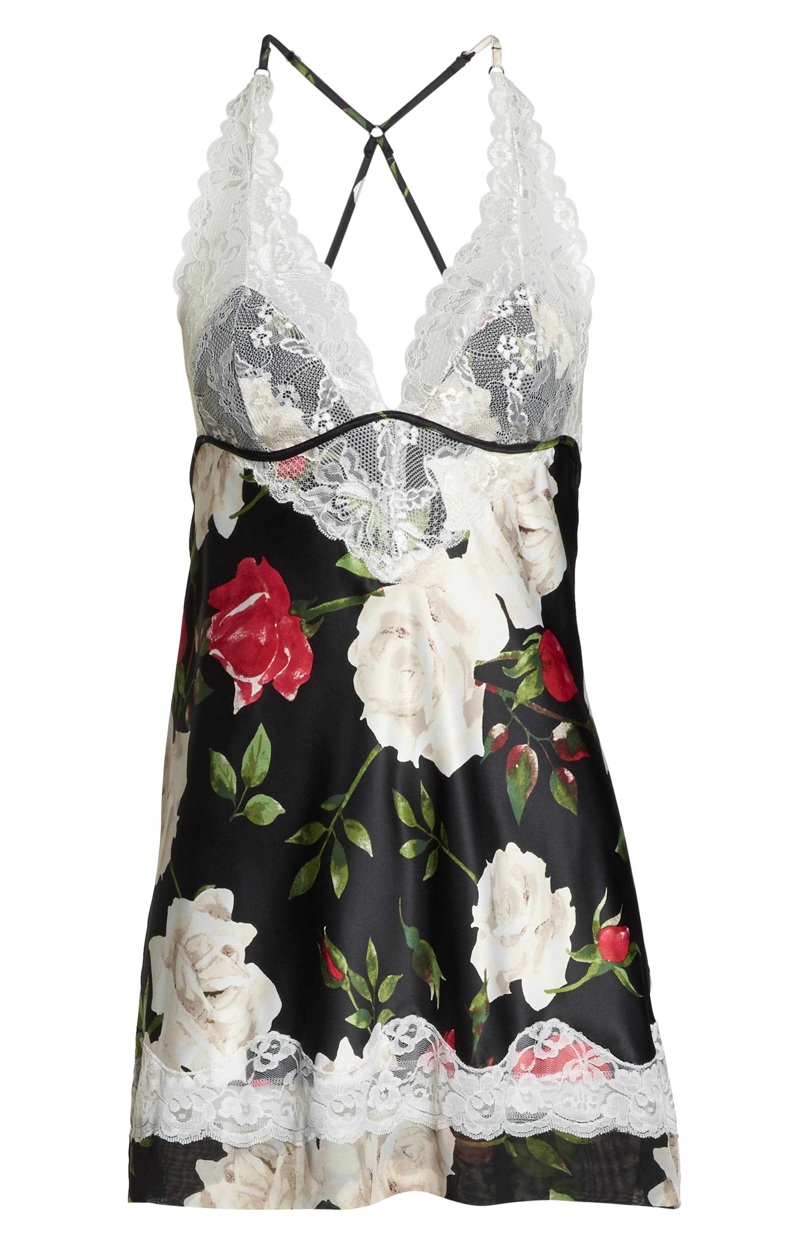 'Muse' Lace & Satin Backless Chemise,                             Alternate thumbnail 6, color,                             WATERCOLOR ROSE