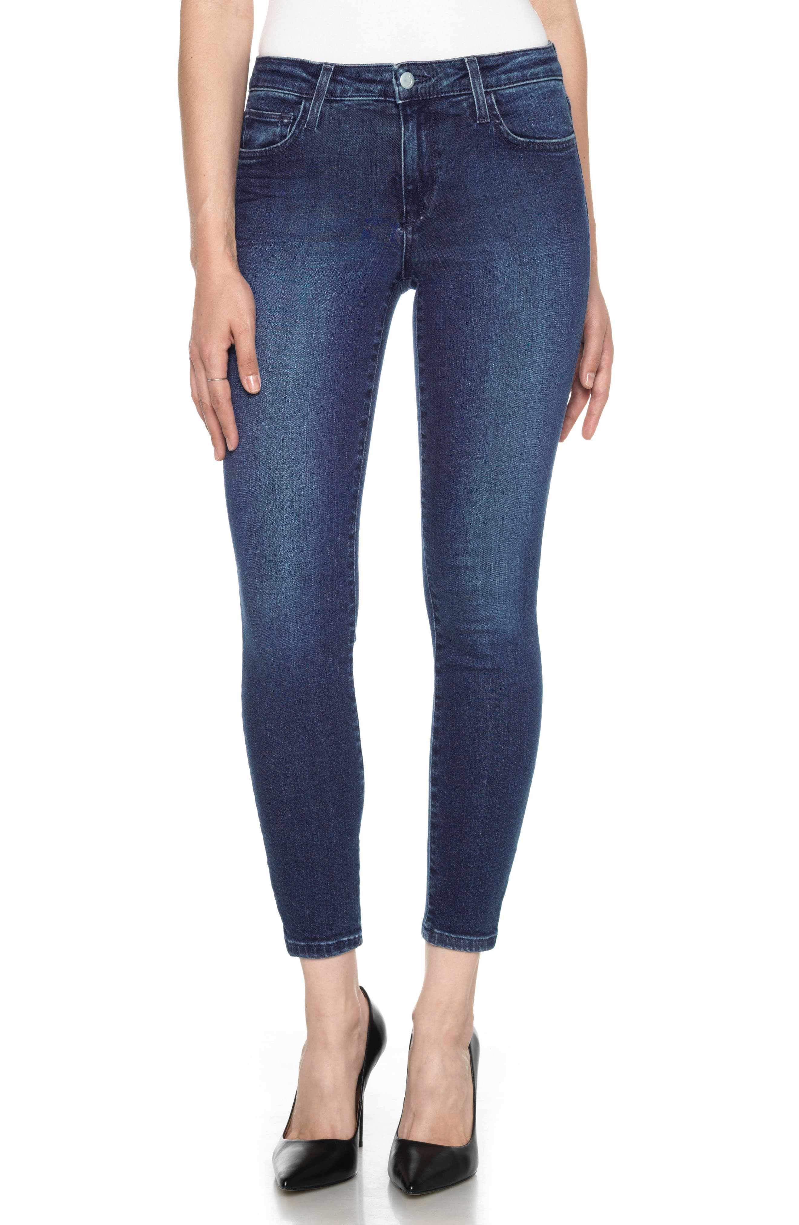 Icon High Waist Crop Skinny Jeans,                         Main,                         color, 400