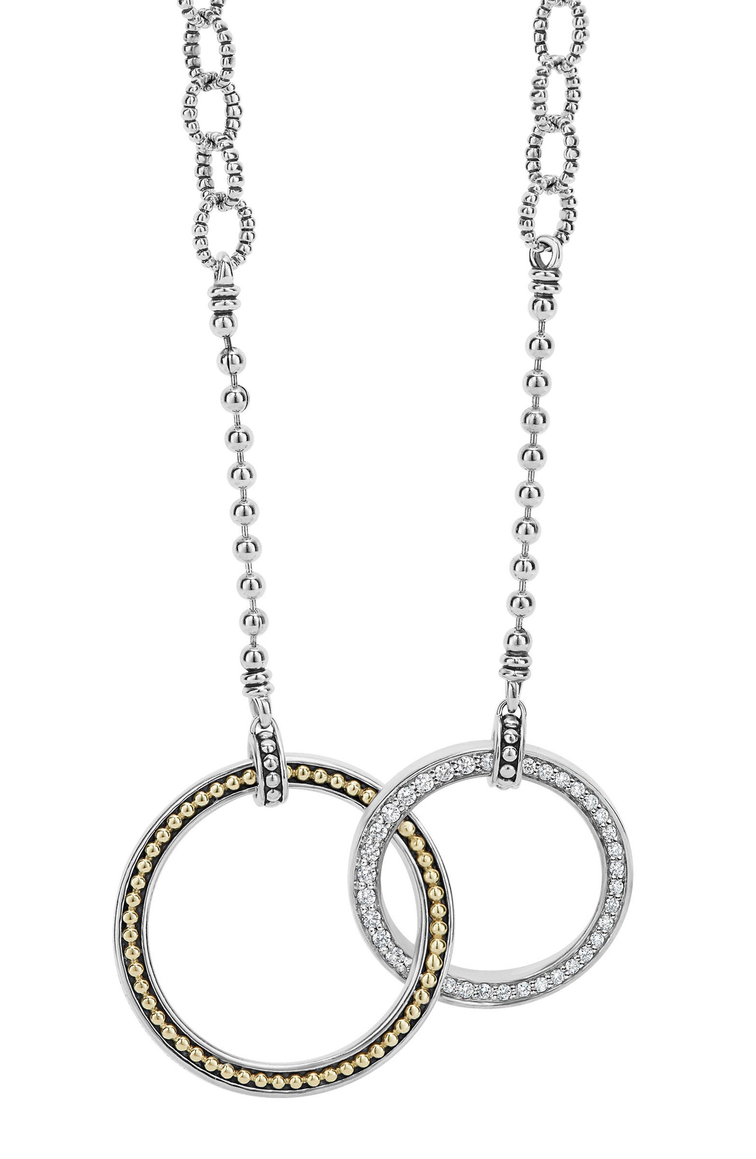 Enso Diamond Pendant Necklace,                             Main thumbnail 1, color,                             SILVER
