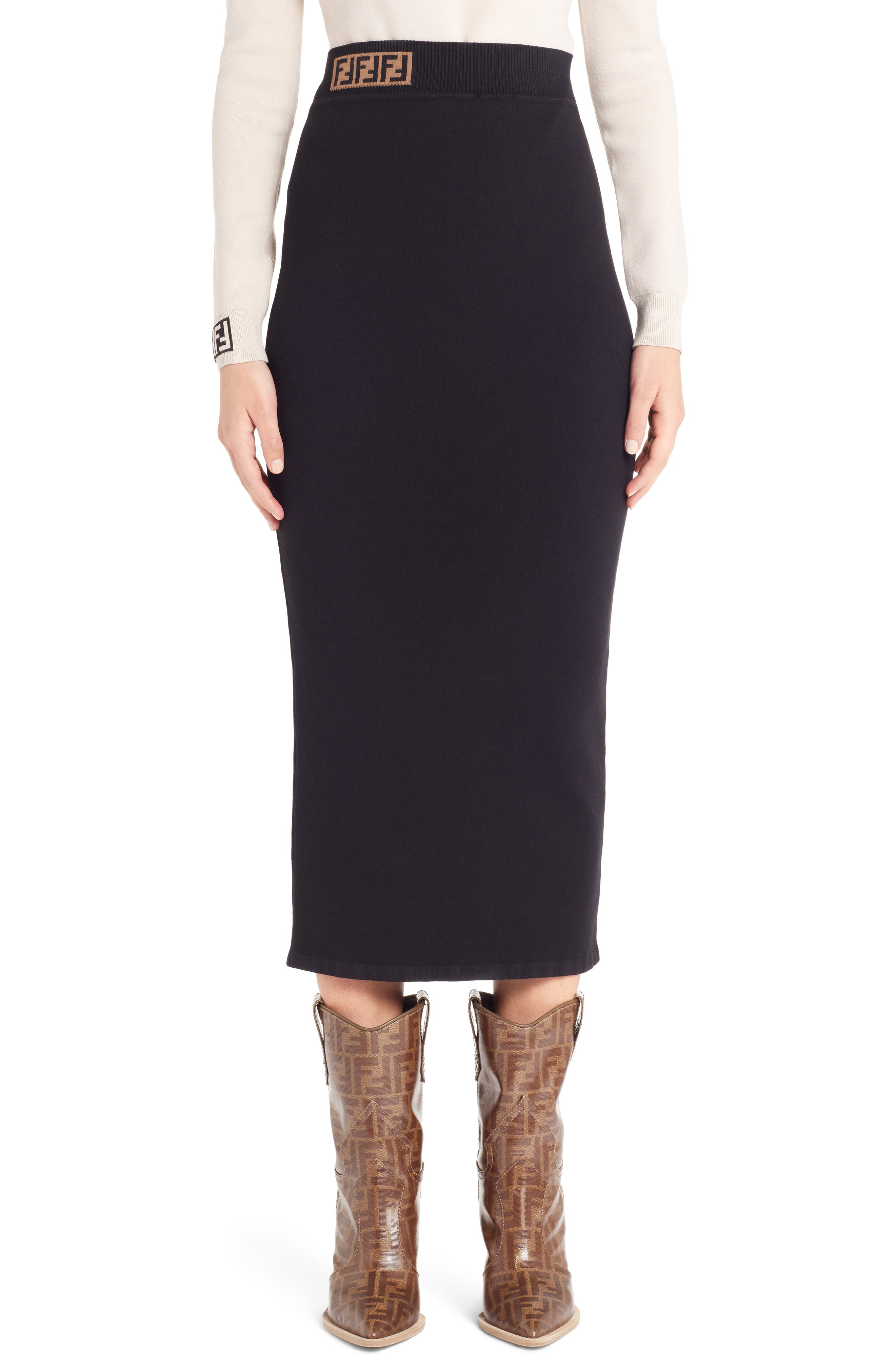 Logo Waist Pencil Skirt,                         Main,                         color, BLACK