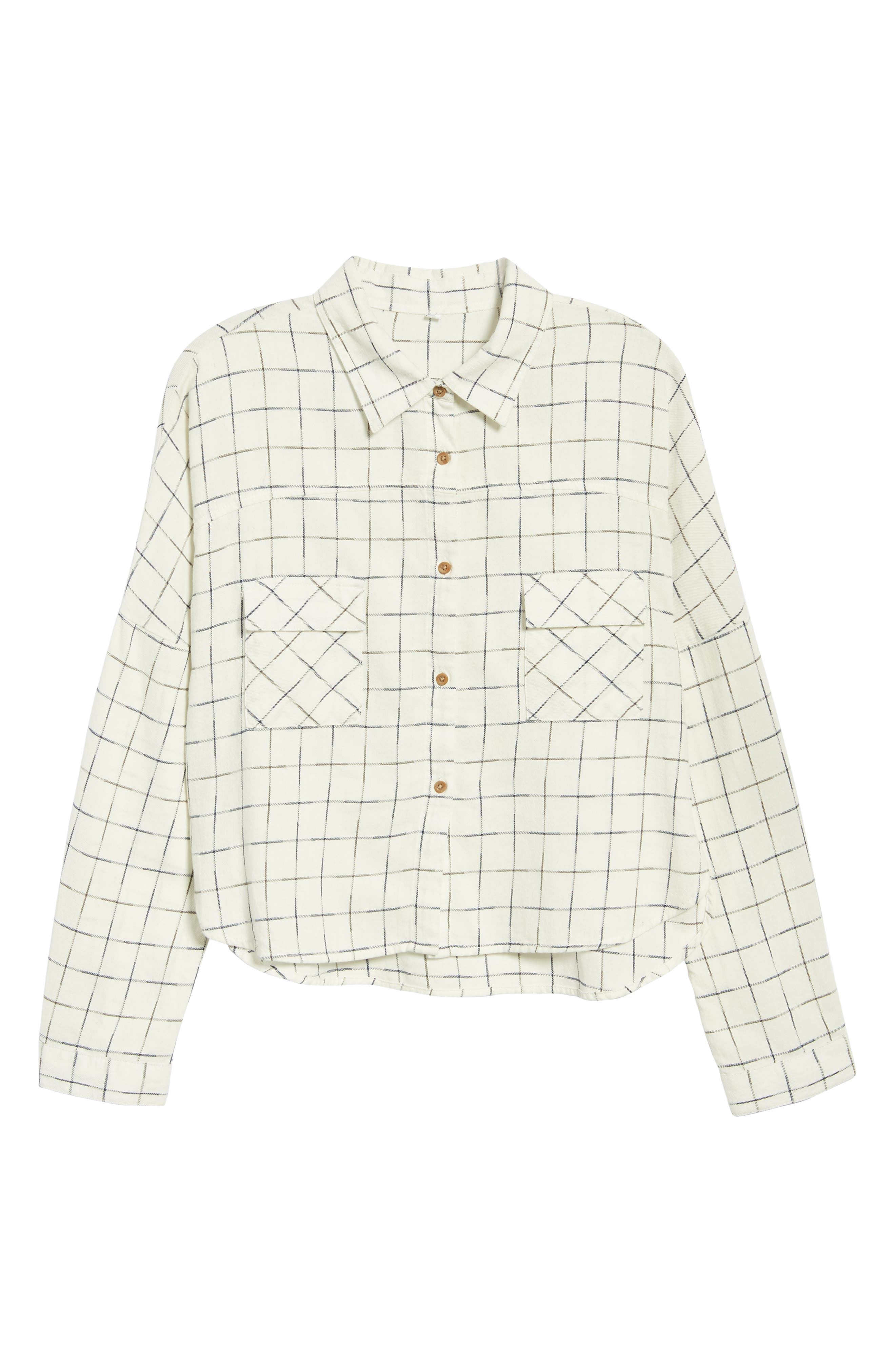 Check Flannel Shirt,                             Alternate thumbnail 6, color,                             NAVY/ WHITE GRID