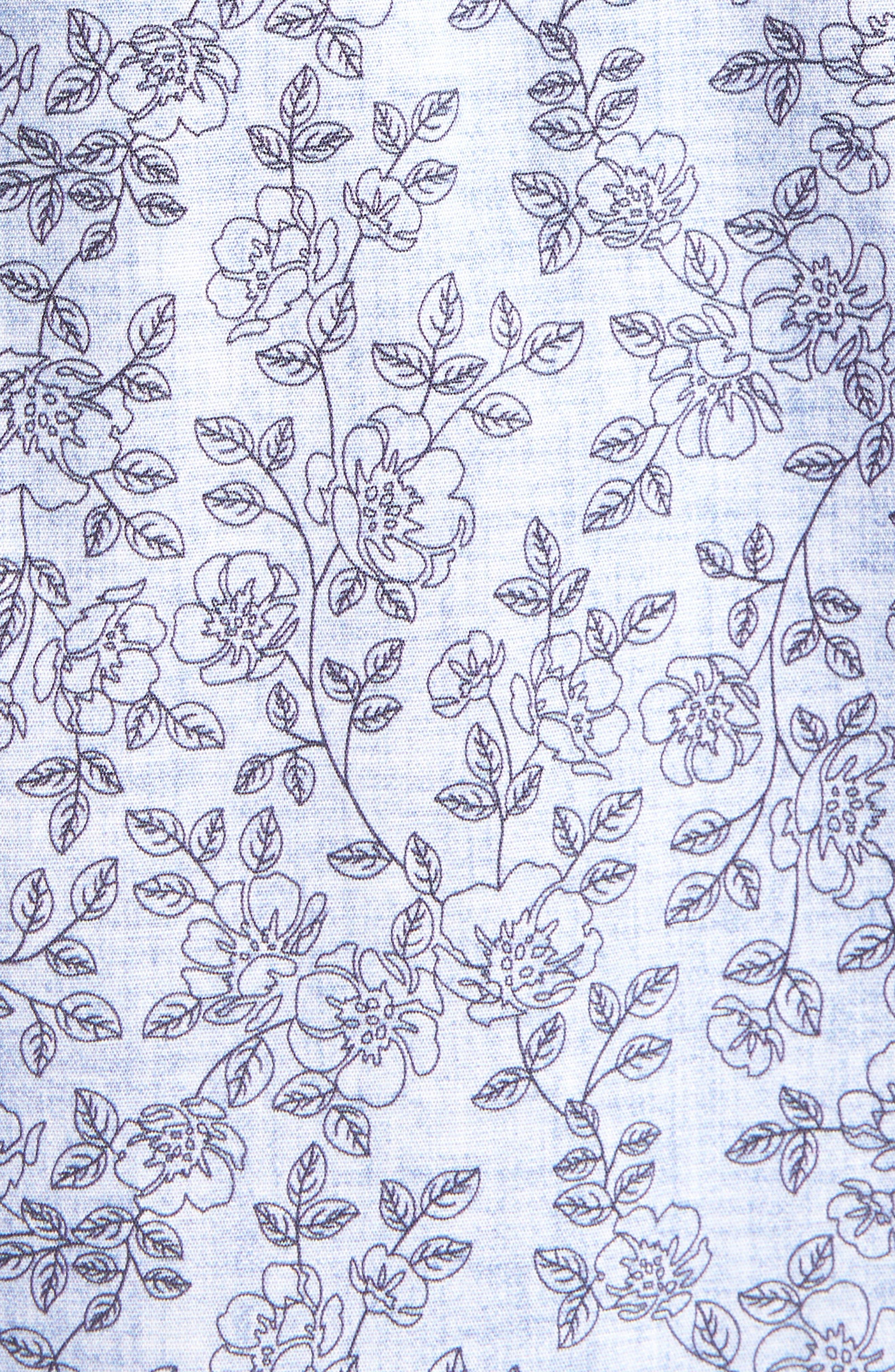 Trim Fit Chambray Floral Print Sport Shirt,                             Alternate thumbnail 5, color,                             420