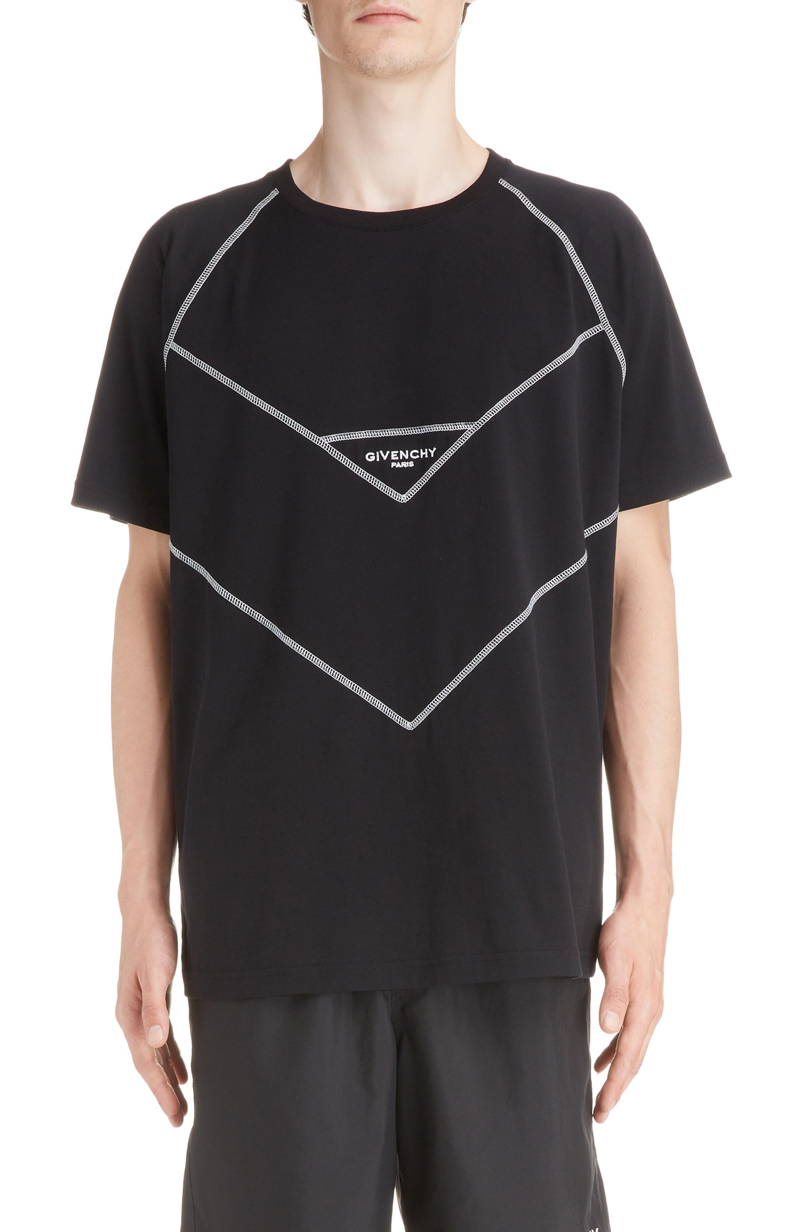 Chevron Stitch T-Shirt,                         Main,                         color, BLACK