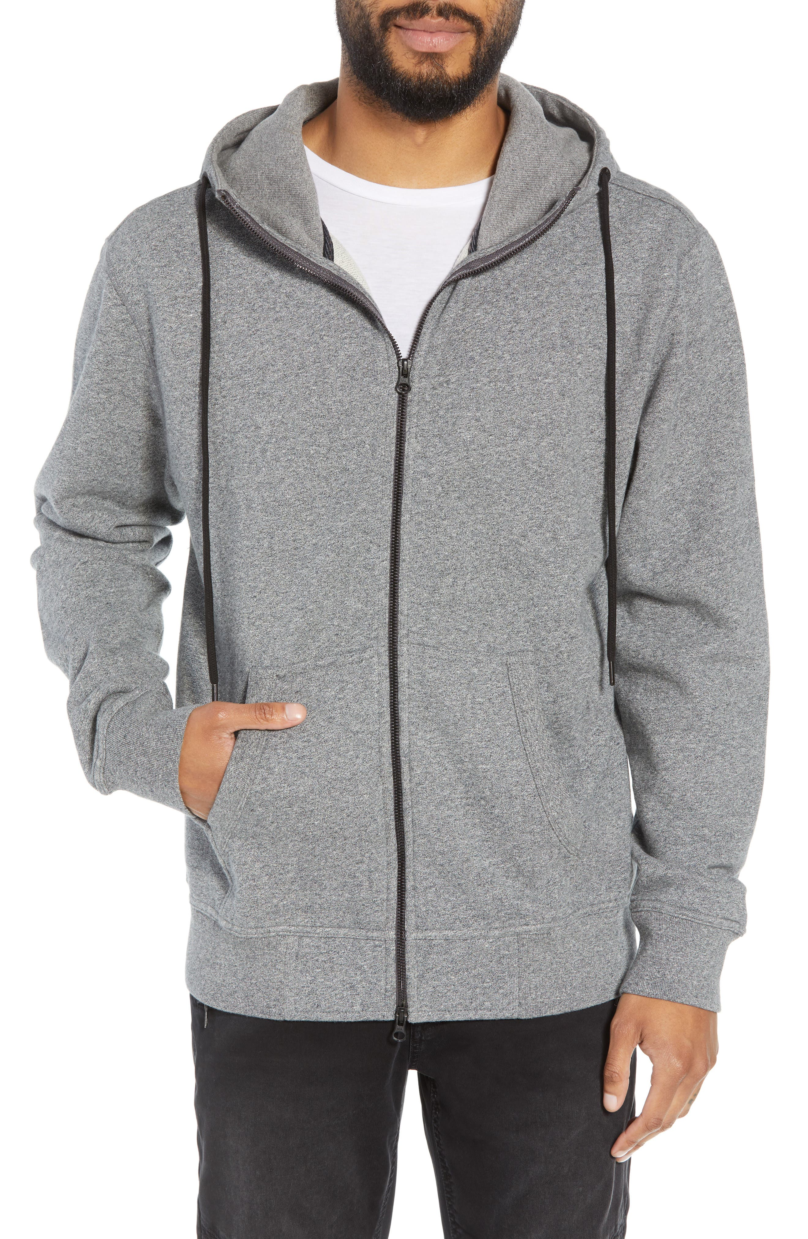 Regular Fit Hooded Zip Sweatshirt,                             Main thumbnail 1, color,                             HEATHER GREY
