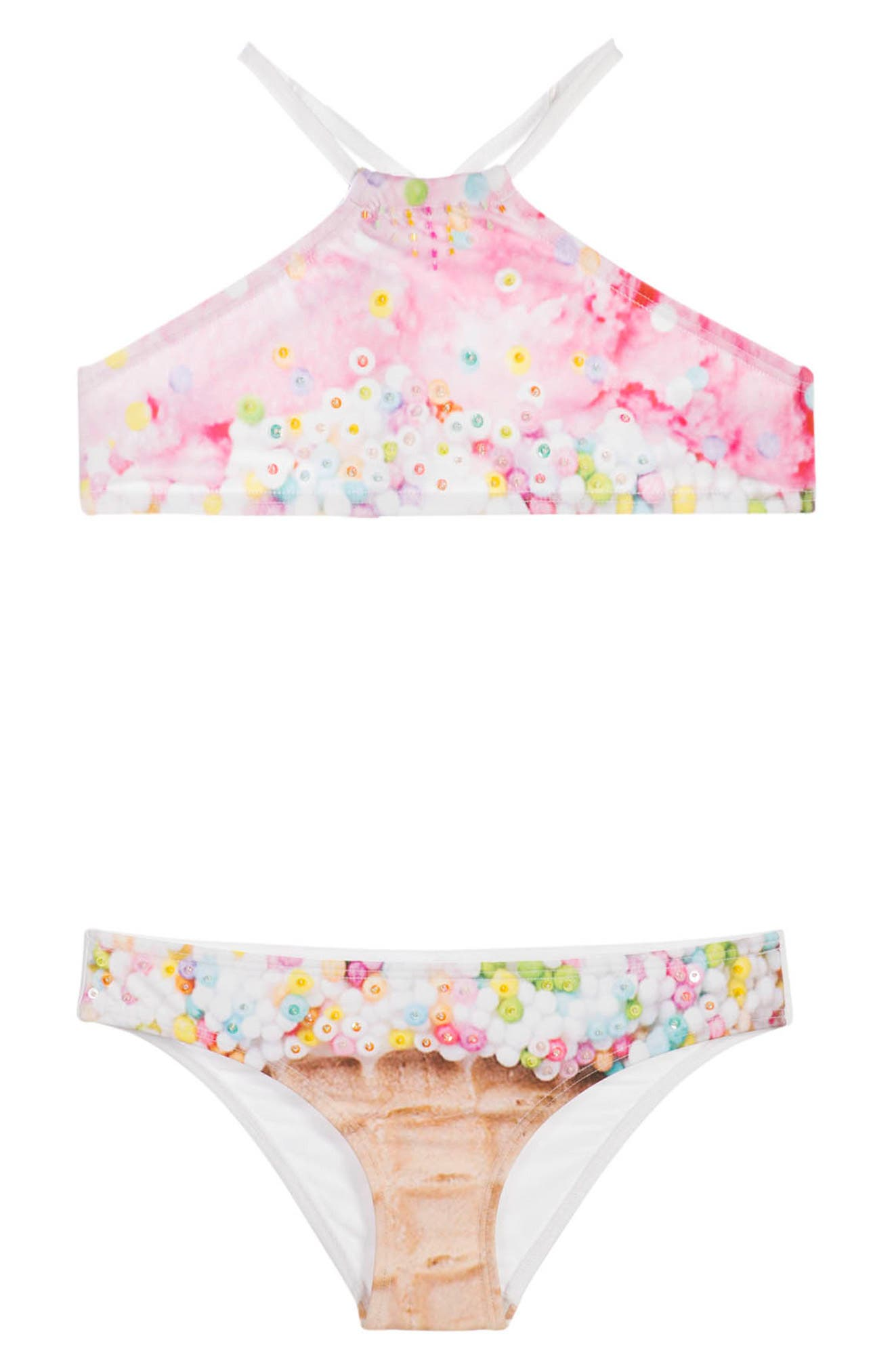 Ice Cream Sequin Embroidered Two-Piece Swimsuit,                             Main thumbnail 1, color,                             ICE CREAM