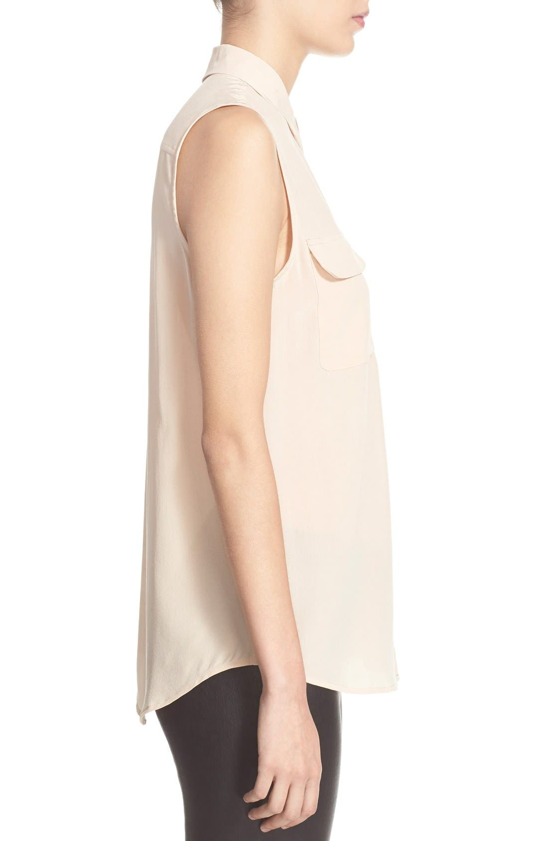 'Slim Signature' Sleeveless Silk Shirt,                             Alternate thumbnail 107, color,